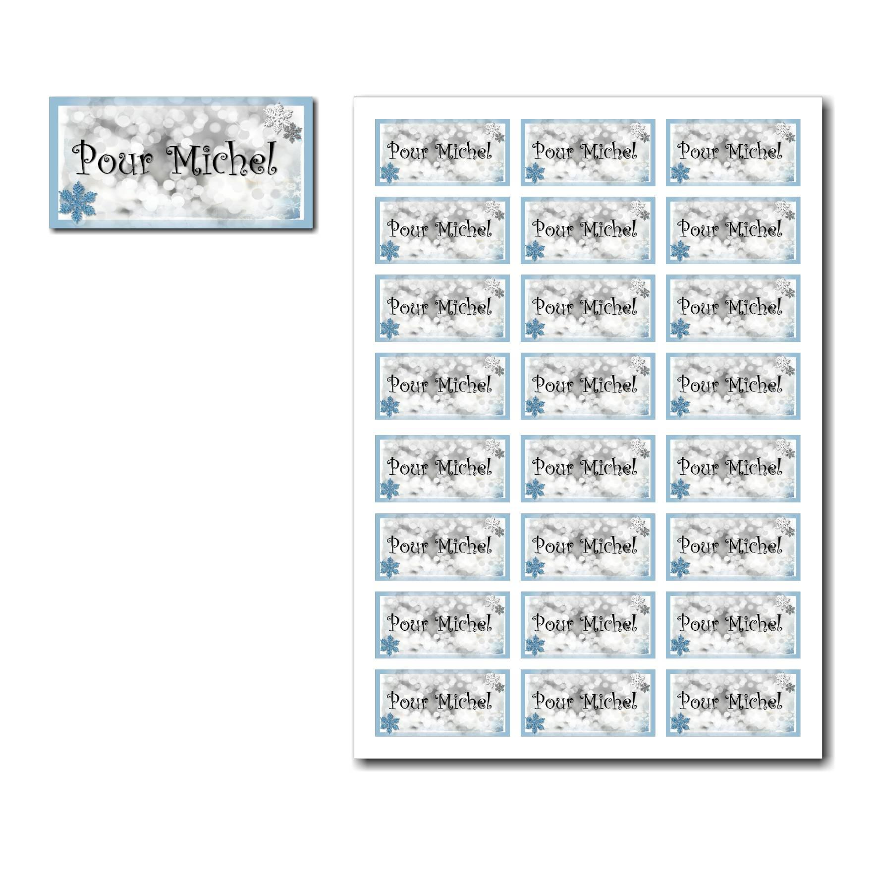 Etiquettes cadeau à imprimer sur fond de lumière avec flocon bleu