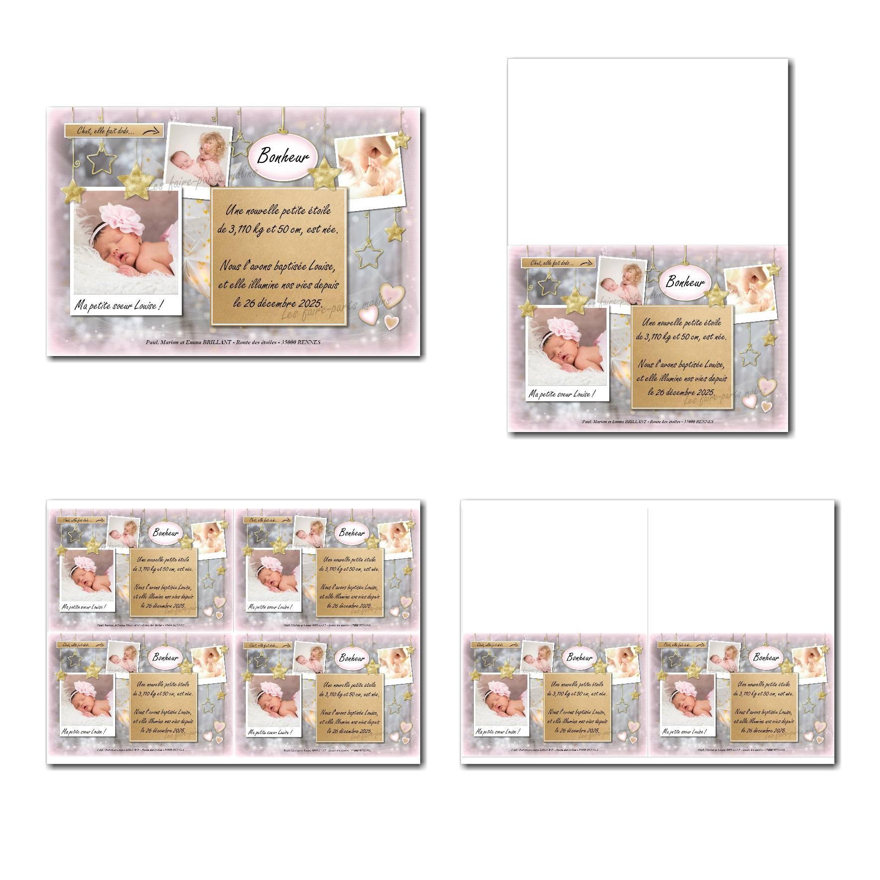 Faire-part à imprimer étoiles d'or sur fond rose et gris avec 3 photos à insérer
