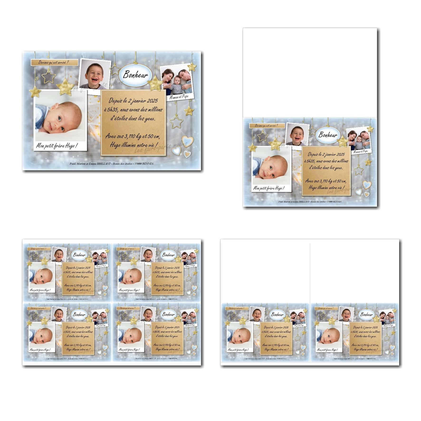 Faire-part à imprimer étoiles d'or sur fond bleu et gris avec 3 photos à insérer