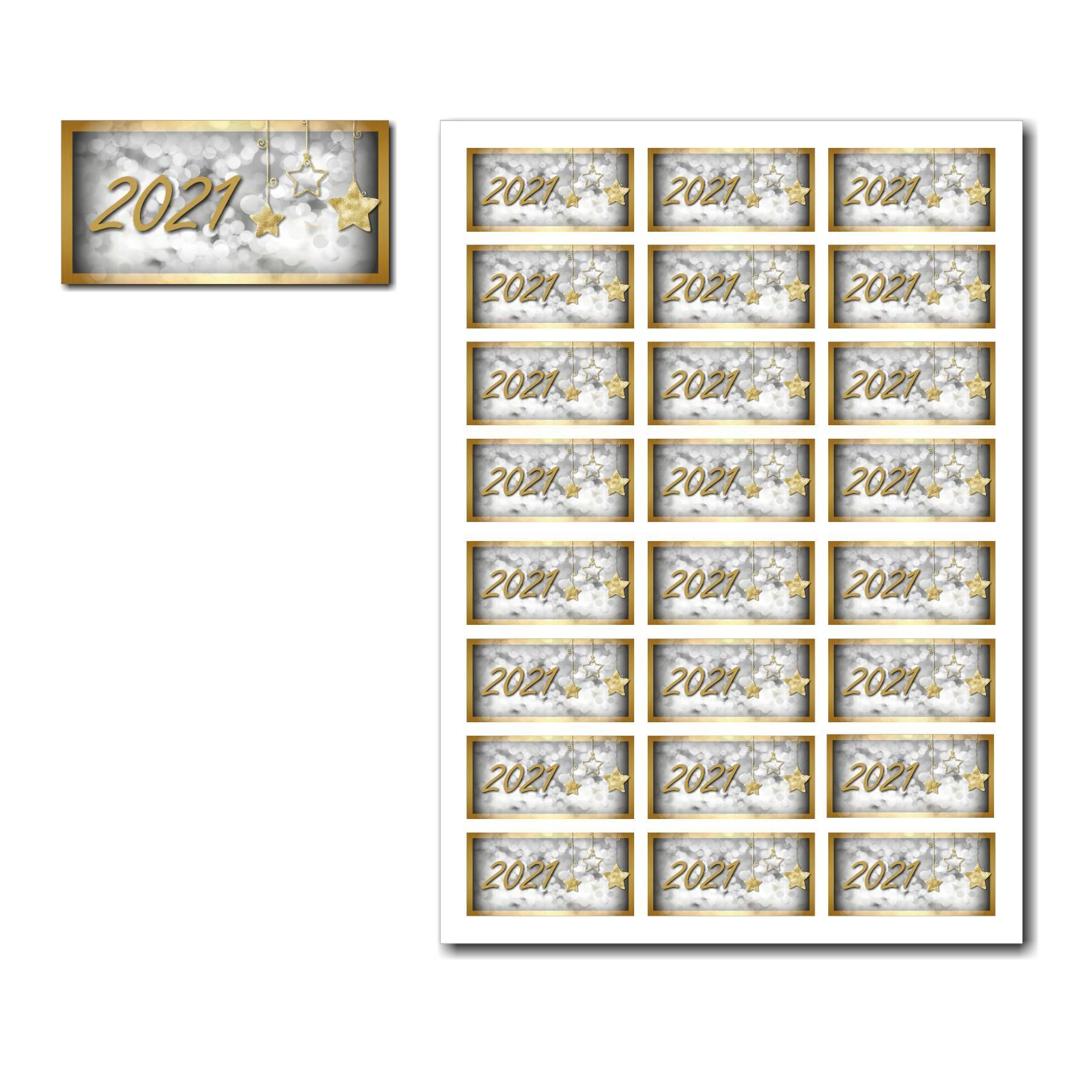 Etiquettes cadeau à imprimer avec étoile d'or sur fond argenté