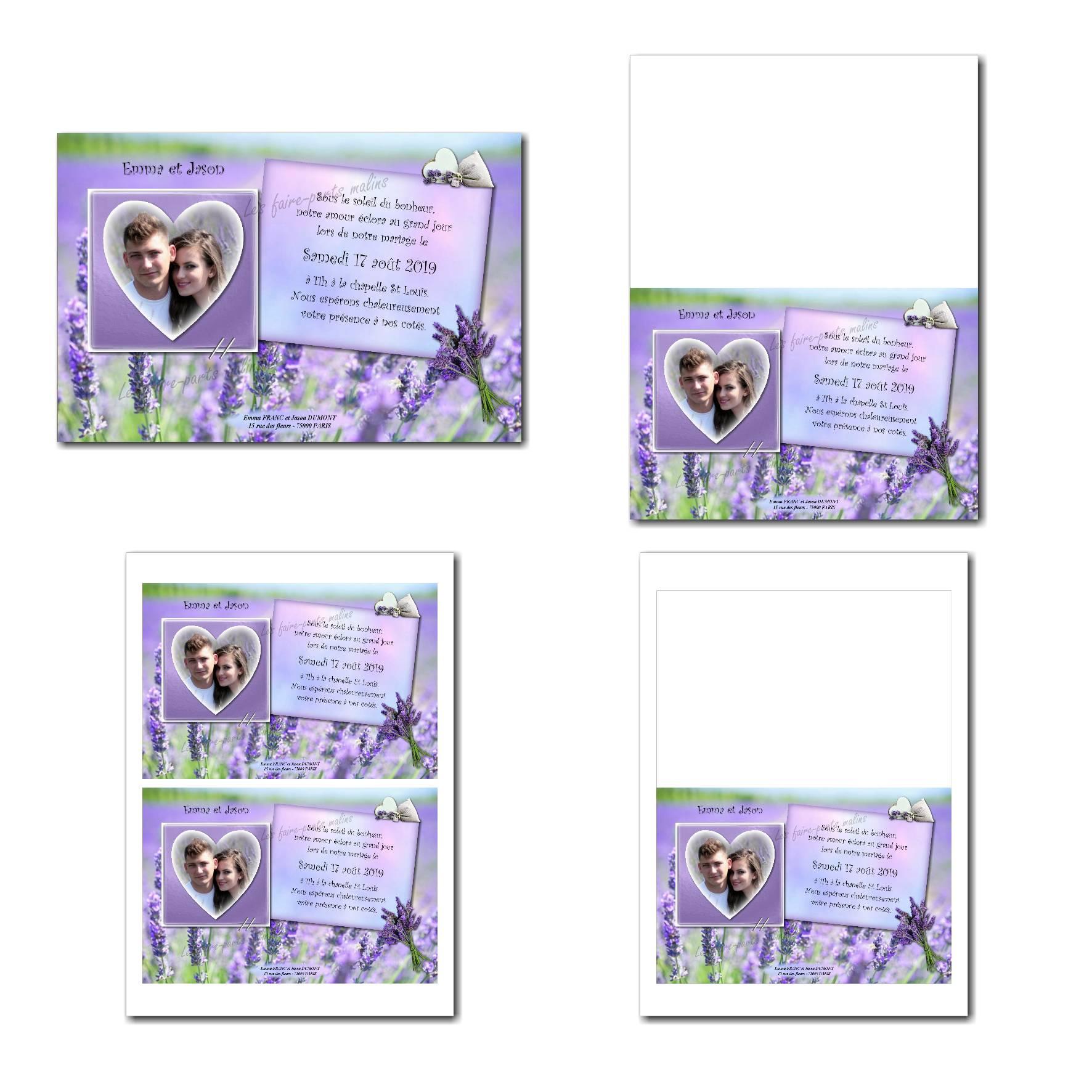 faire part illimité violet avec fleur de lavande