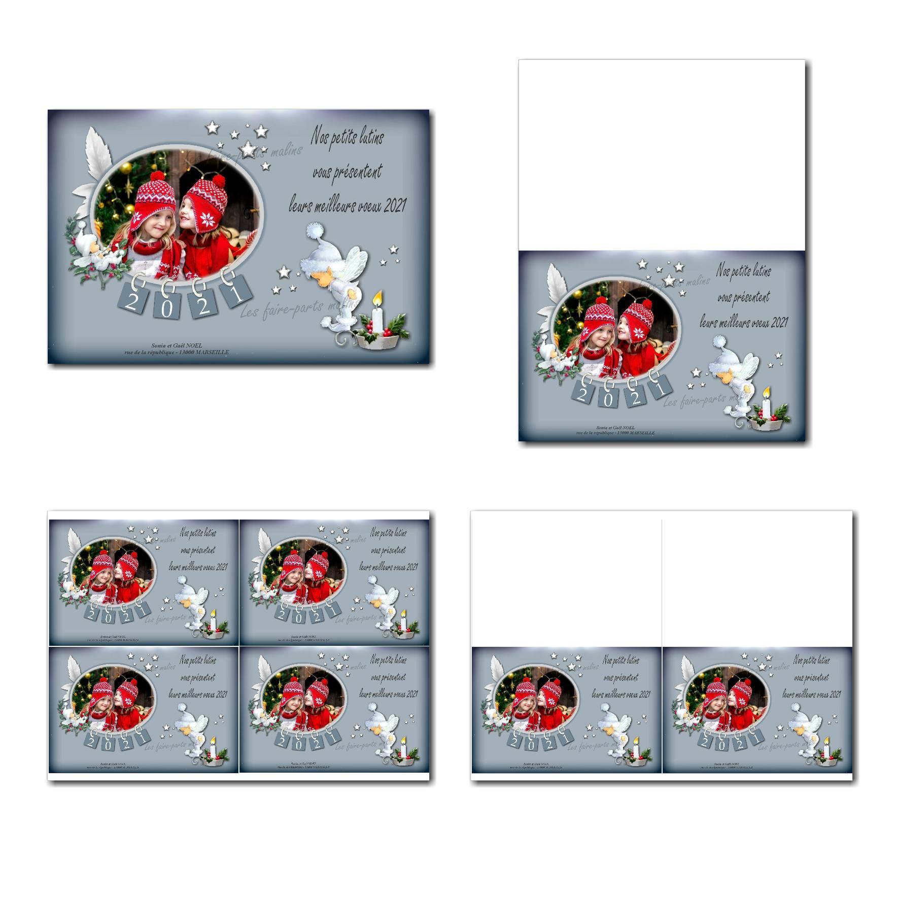 carte de voeux à imprimer étoile argentée et lutin habillé en blanc