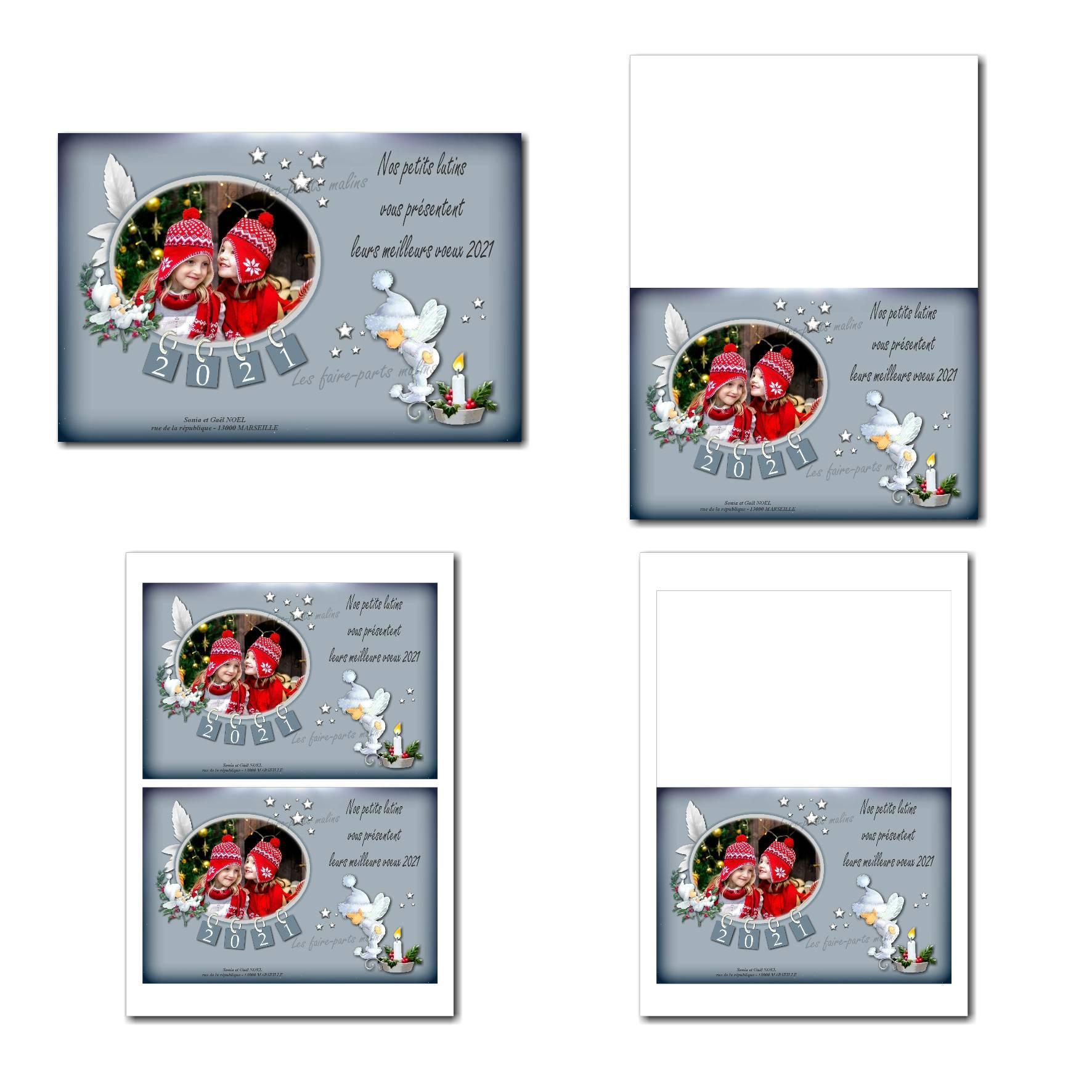 carte de nouvel an à imprimer avec lutin de noël blanc