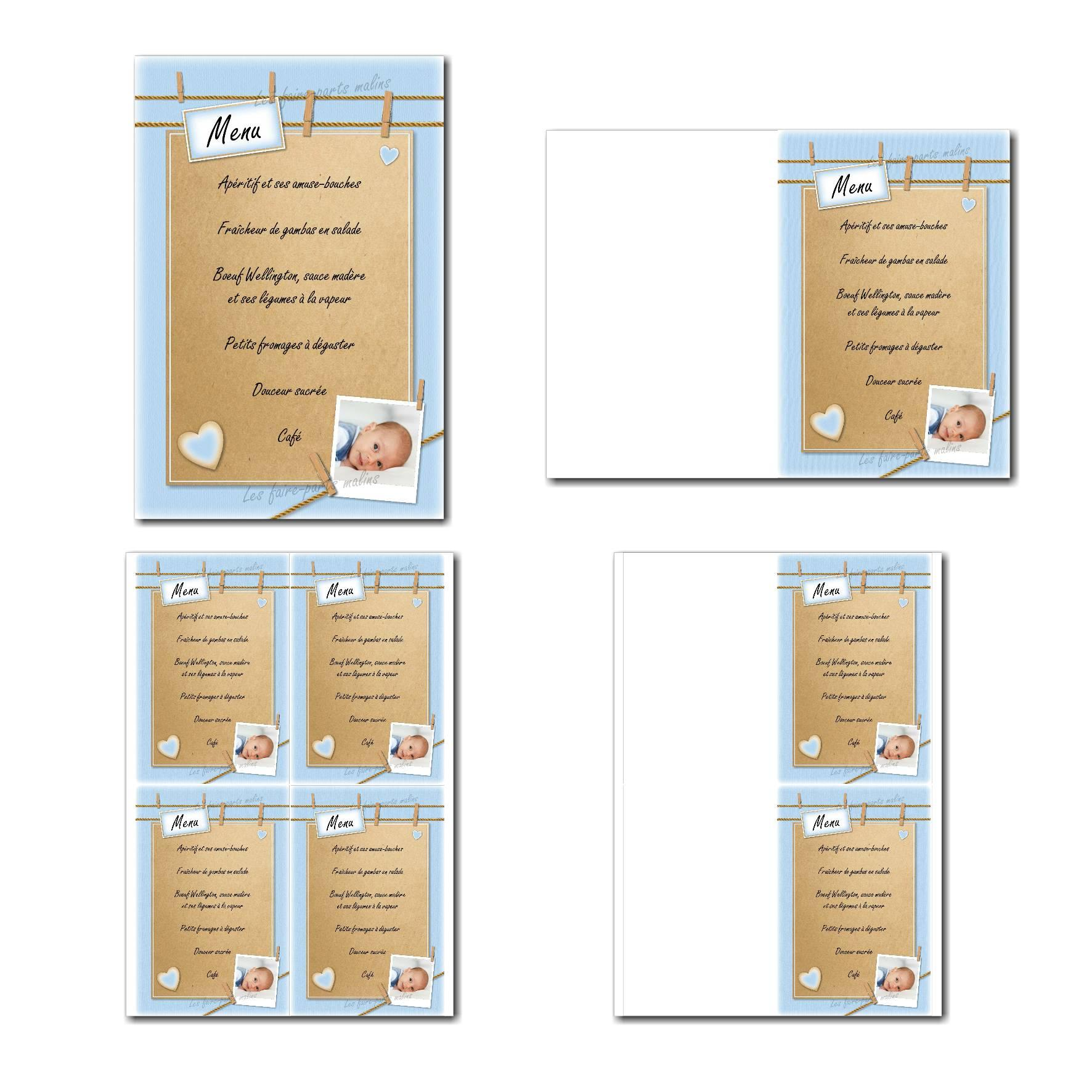 Carte de menu prêt à imprimer en bleu et beige avec petite corde à linge