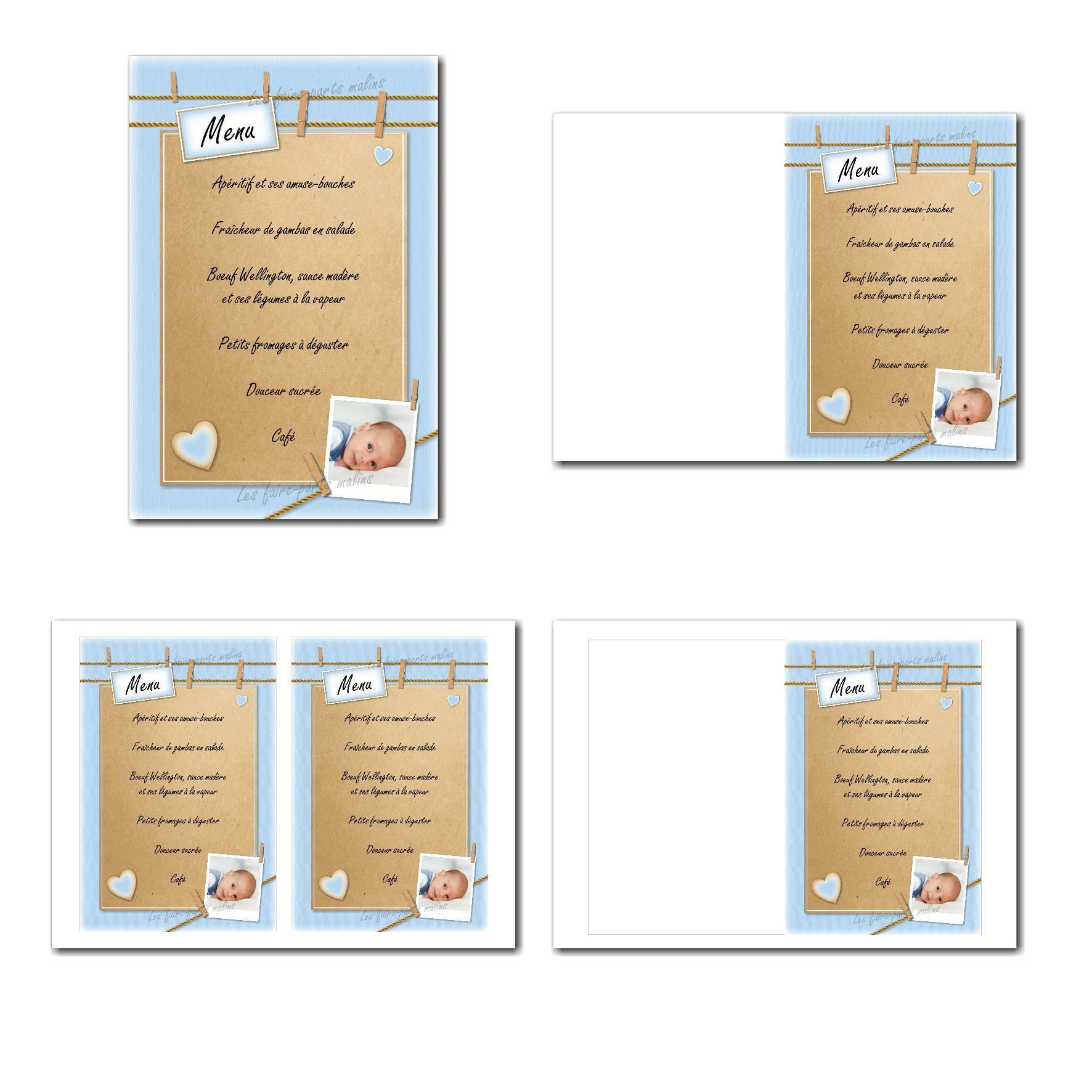 Carte de menu illimité bleu avec corde et pinces à linges