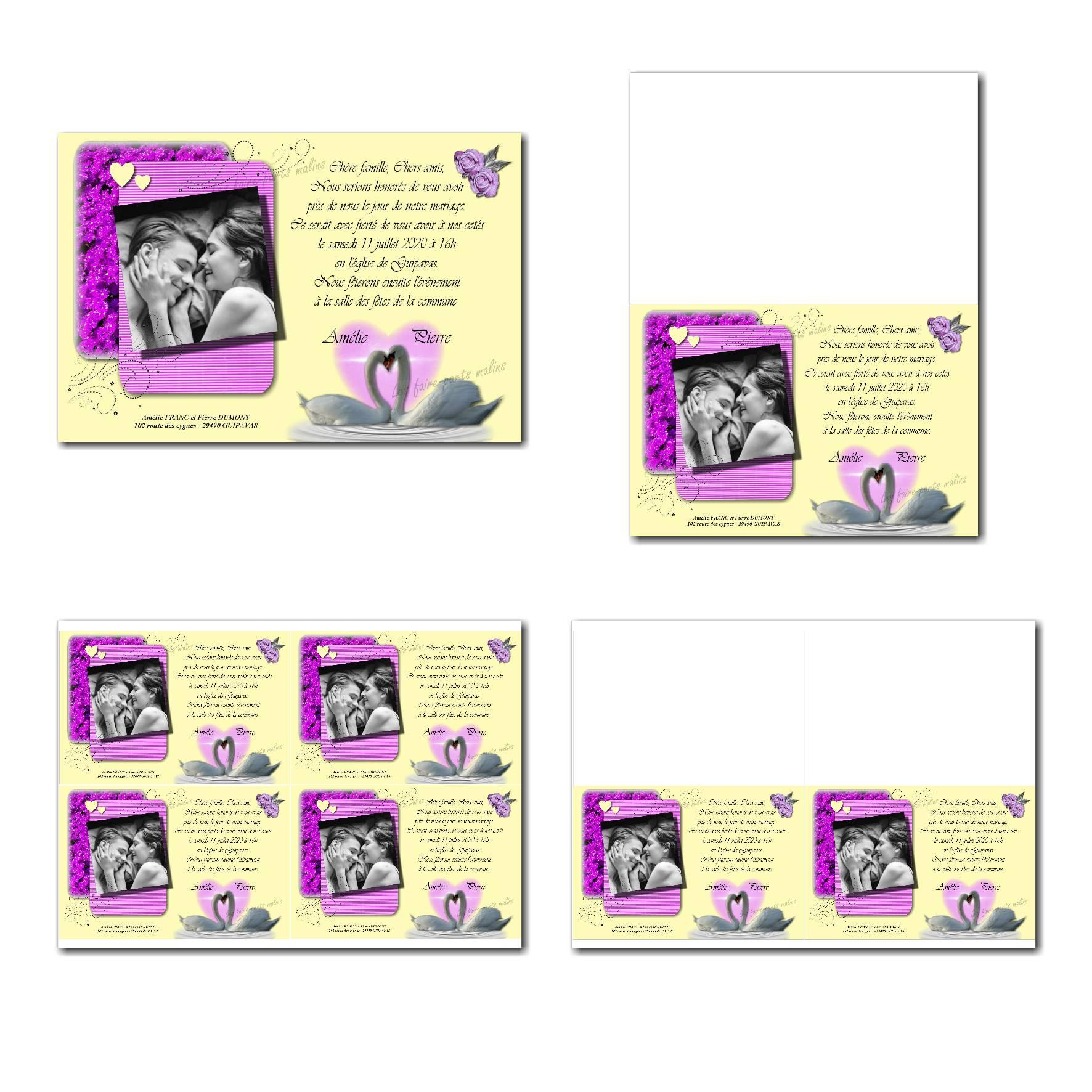 Faire-part à imprimer avec cygnes amoureux en violet