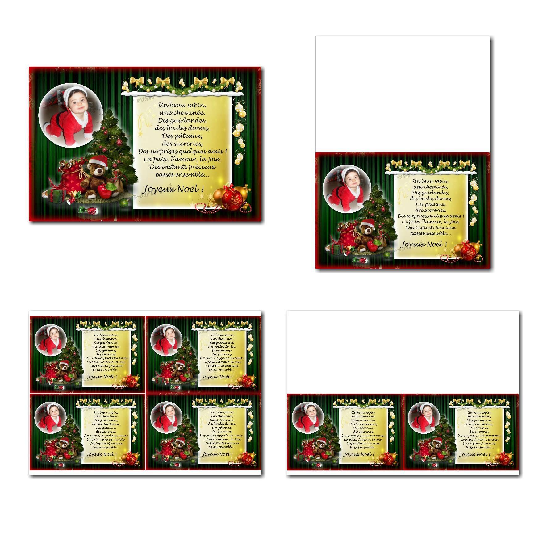 carte de voeux à imprimer sapin sur fond vert avec décoration de noël
