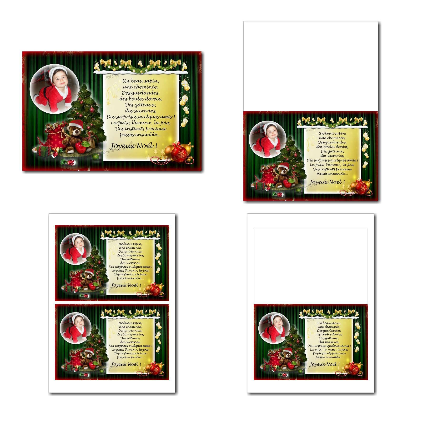 carte de nouvel an à imprimer sapin de noël et décoration vert et rouge