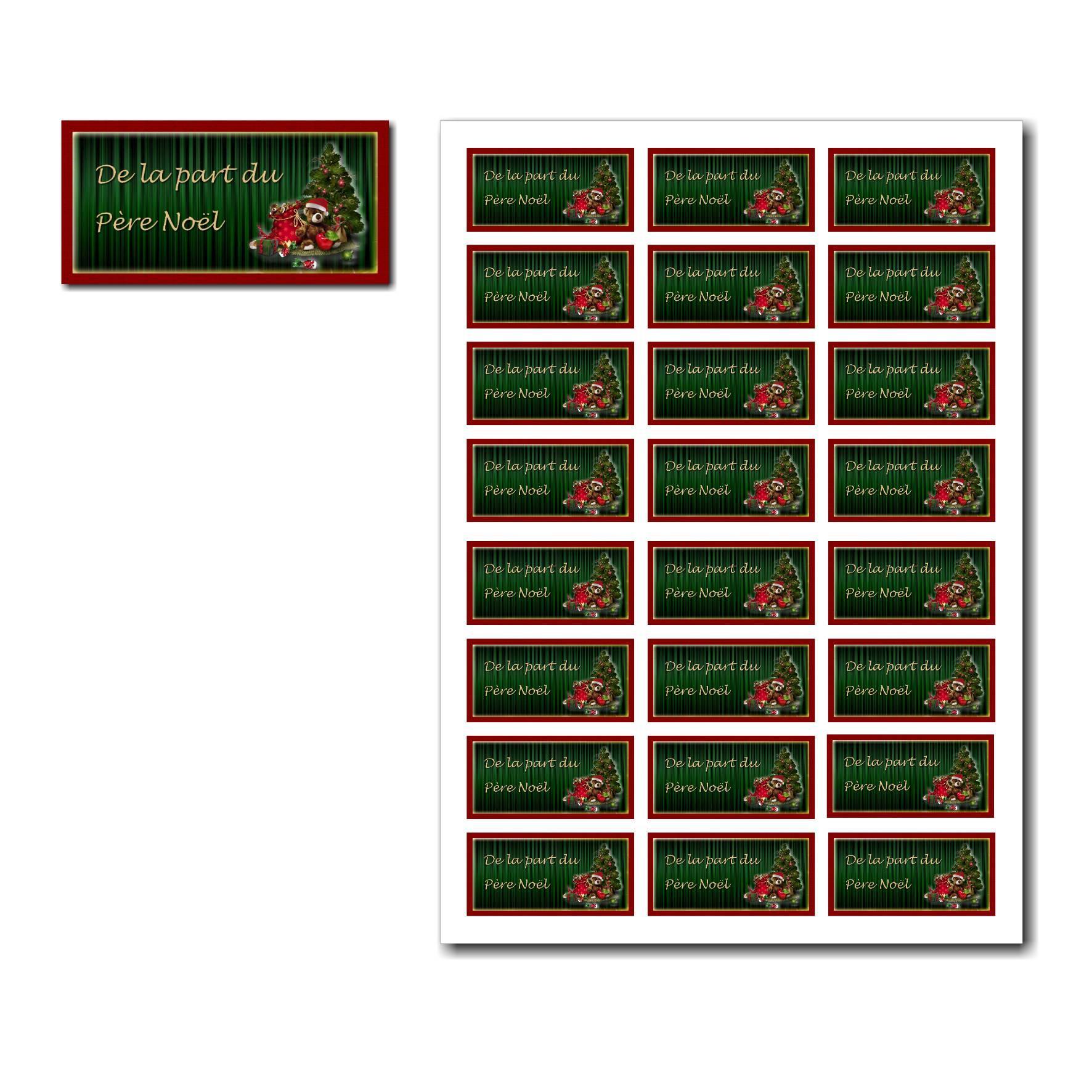 Etiquettes cadeau à imprimer fond vert avec sapin de noël