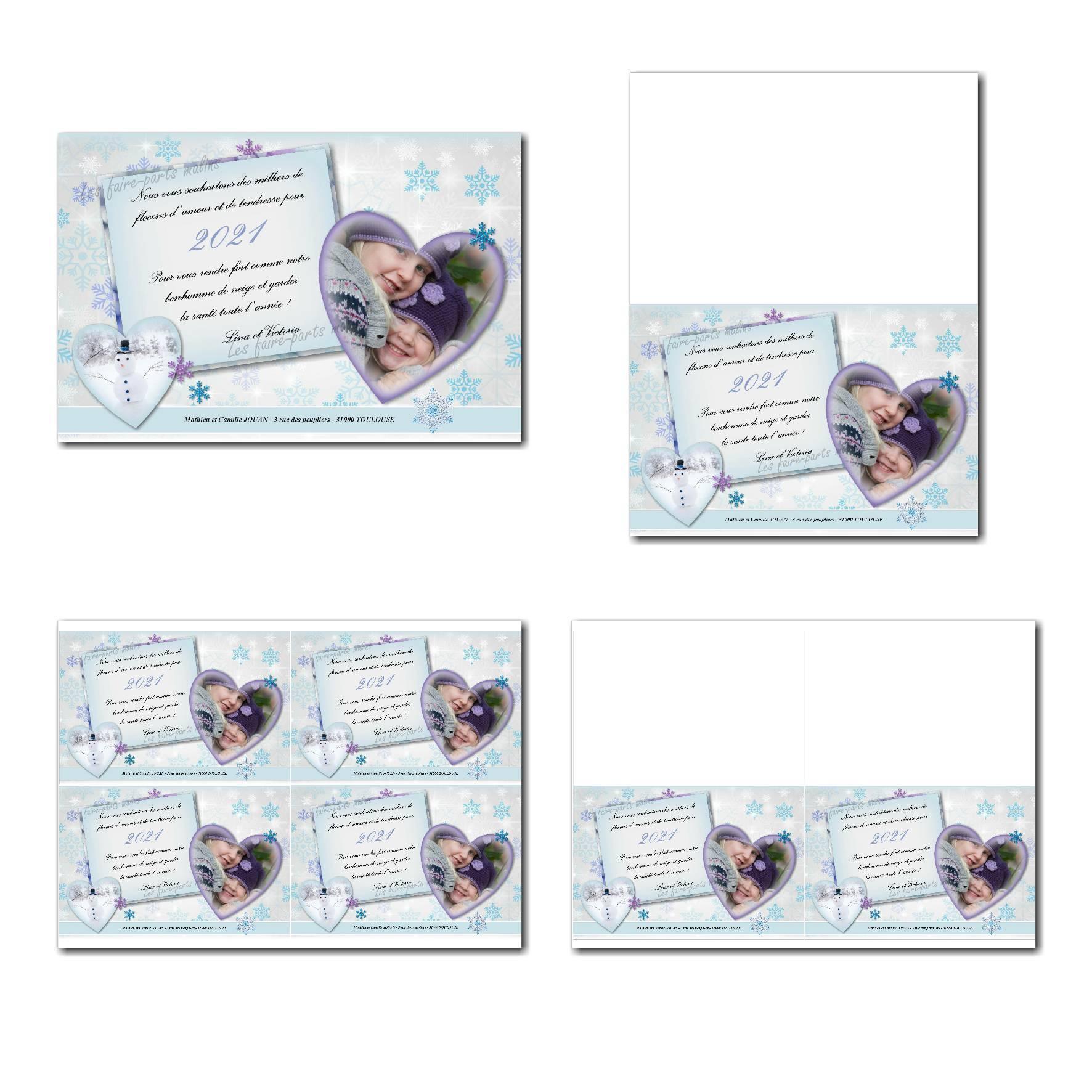 carte de voeux à imprimer fond hiver avec photo en coeur