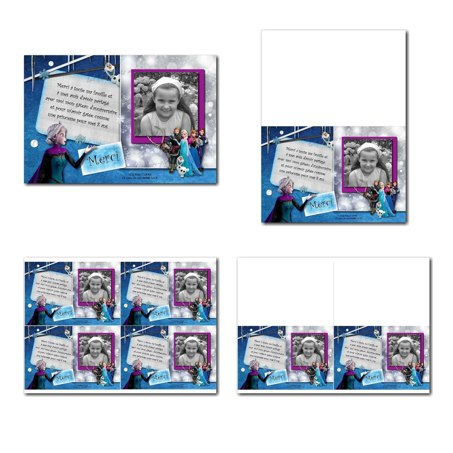 carte de remerciements prêt à imprimer reine des neiges