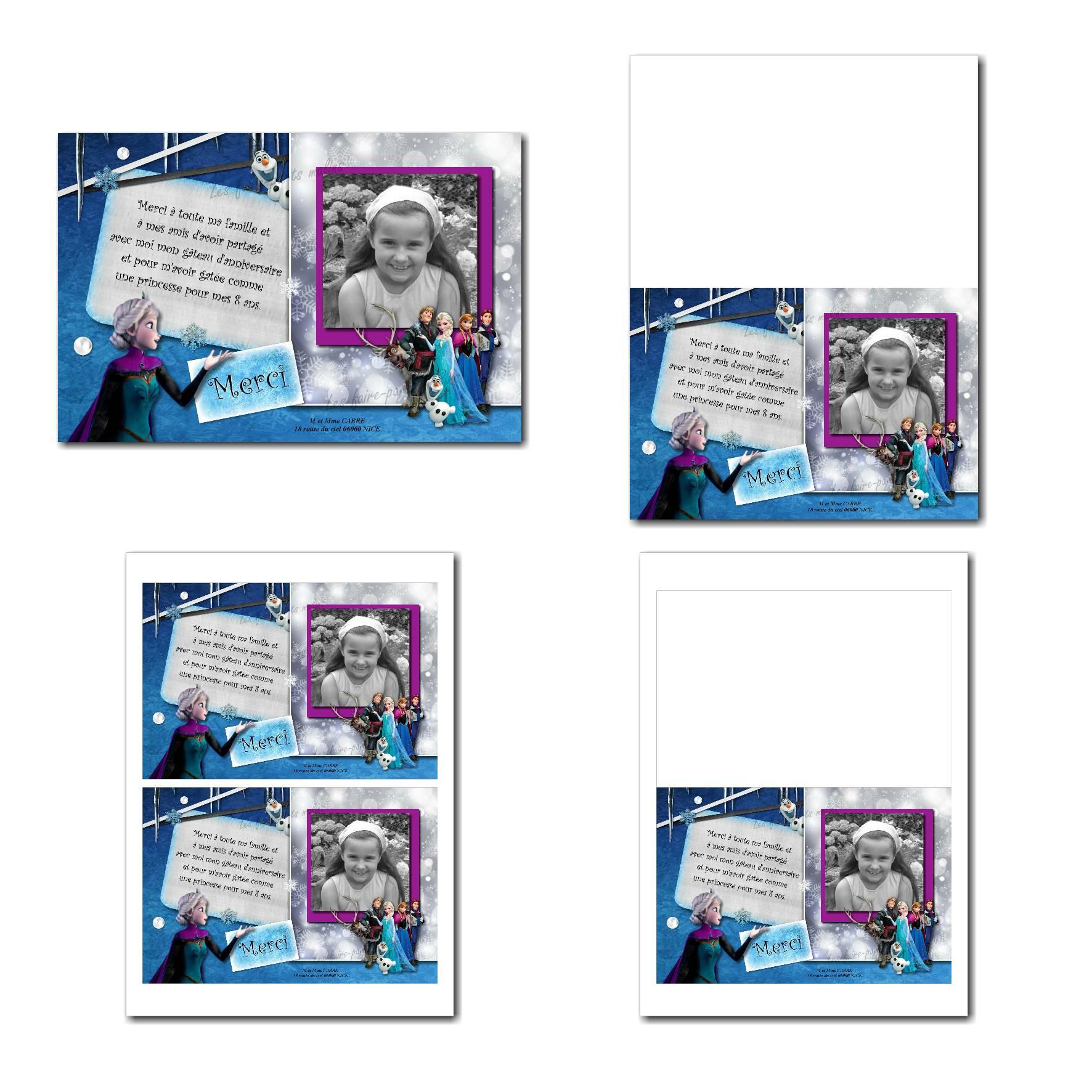 Carte de remerciements à imprimer princesse des neiges