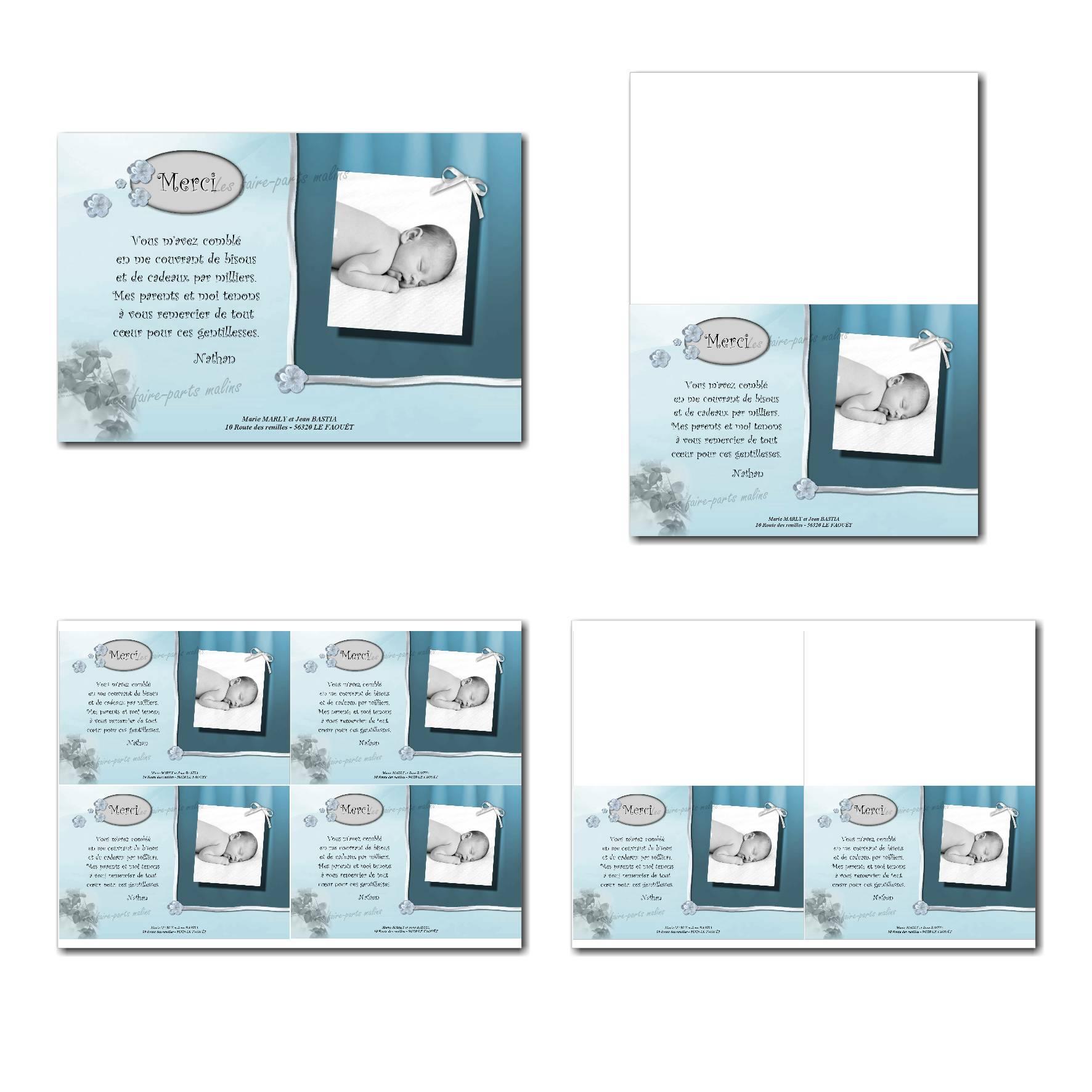 Carte de remerciements prêt à imprimer bleu et gris clair avec fleur