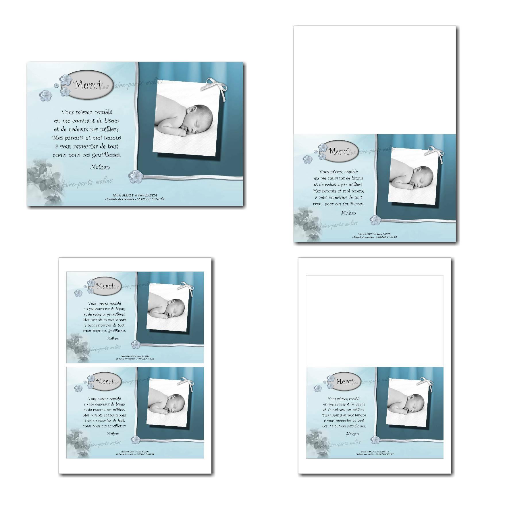 Carte de remerciements à imprimer bleu pastel et gris clair