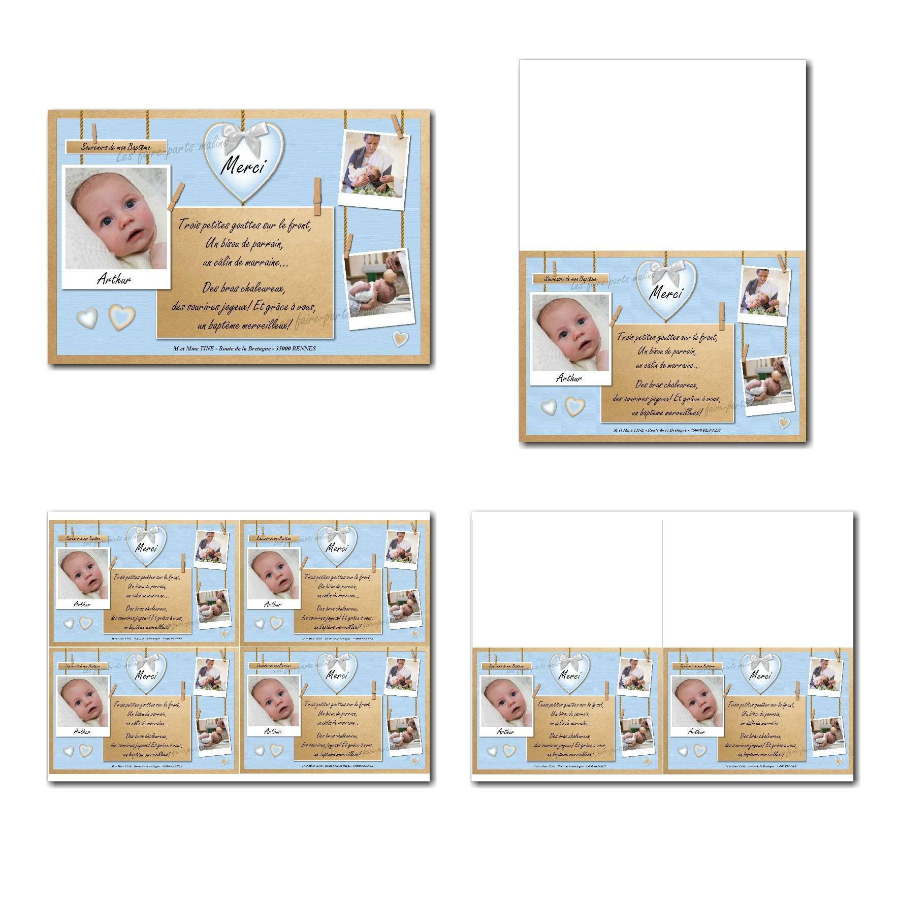 carte de remerciements prêt à imprimer bleu et marron avec pinces à linge pour garçon