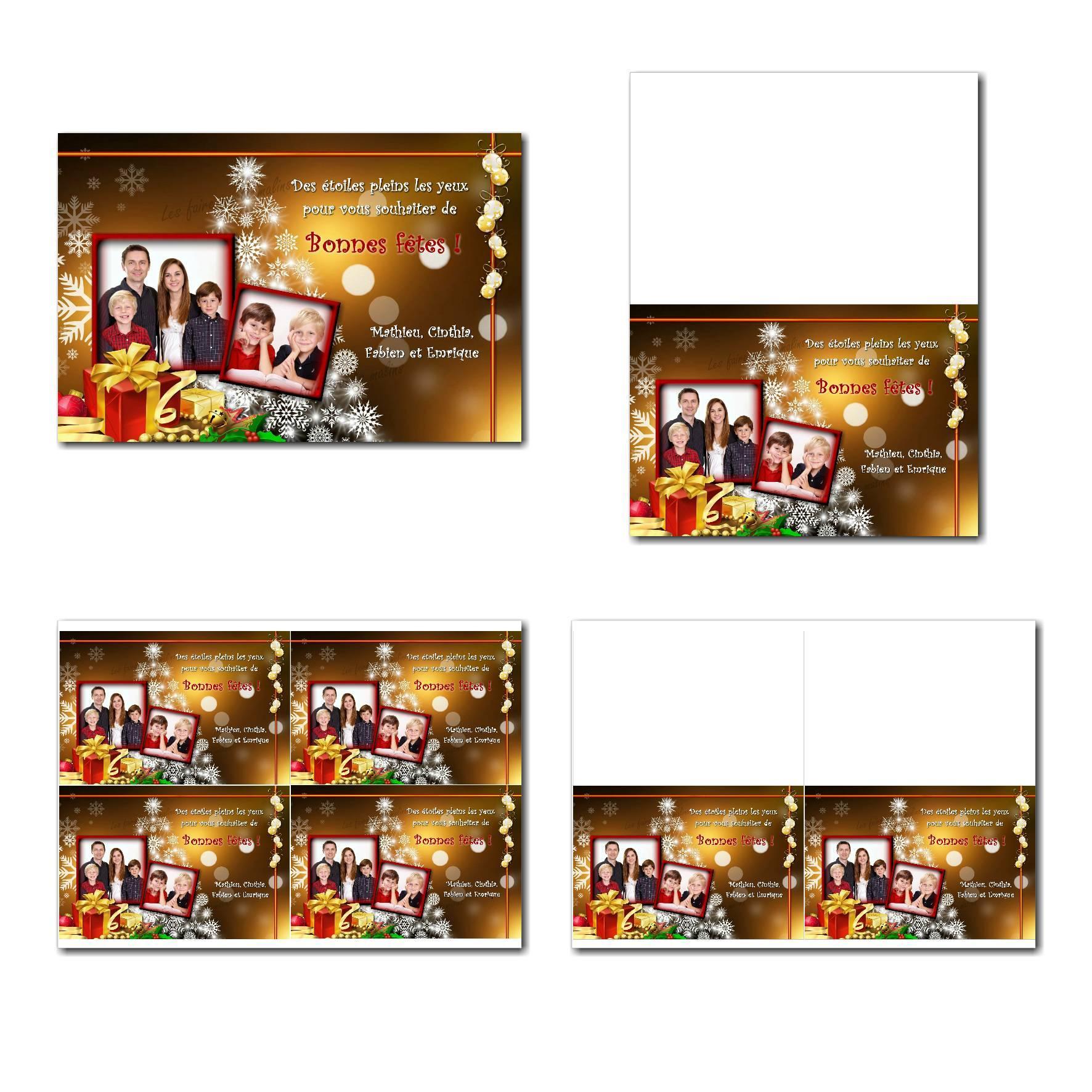 carte de nouvel an à imprimer cadeau de noël dorée et rouge