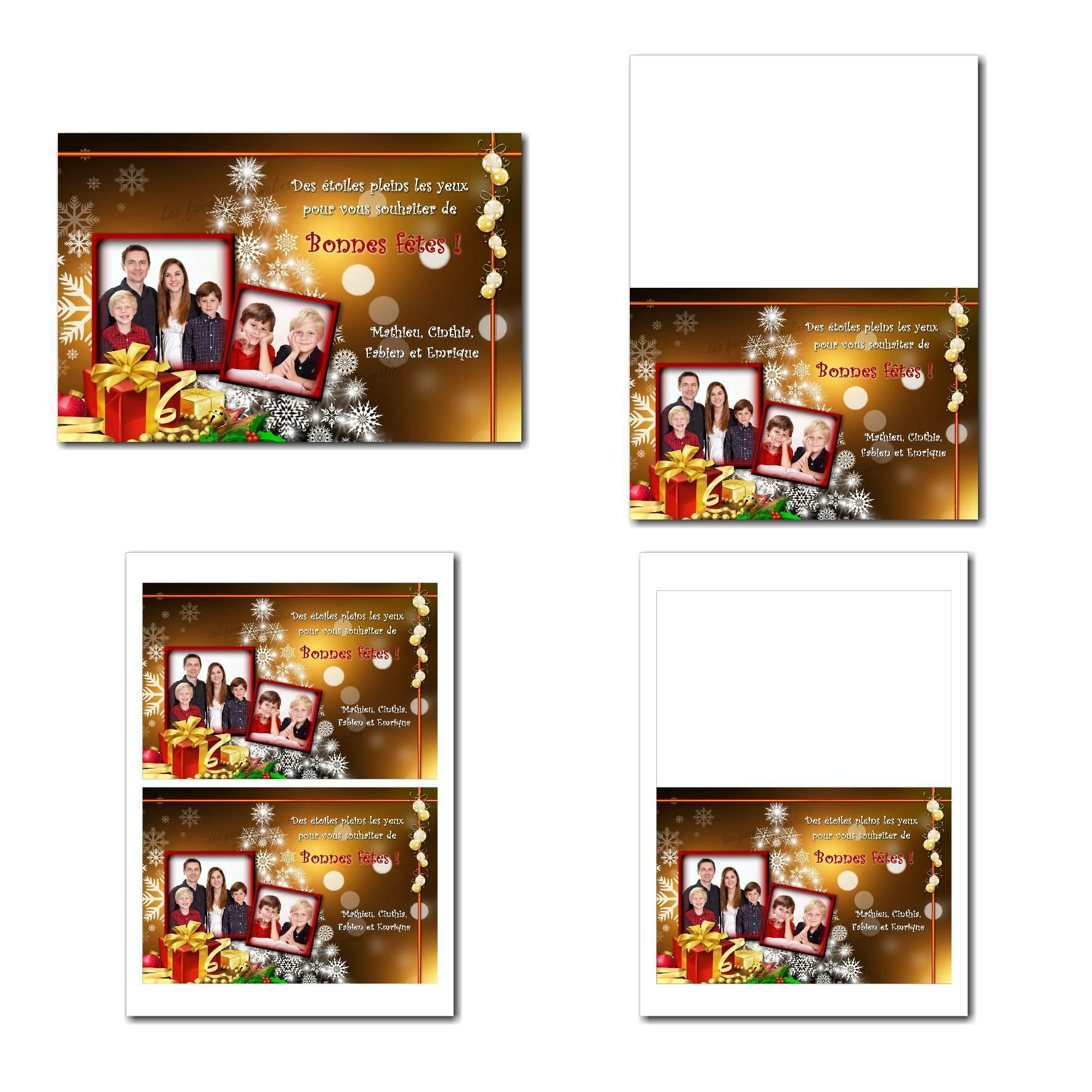 carte de voeux à imprimer cadeau de noel fond or