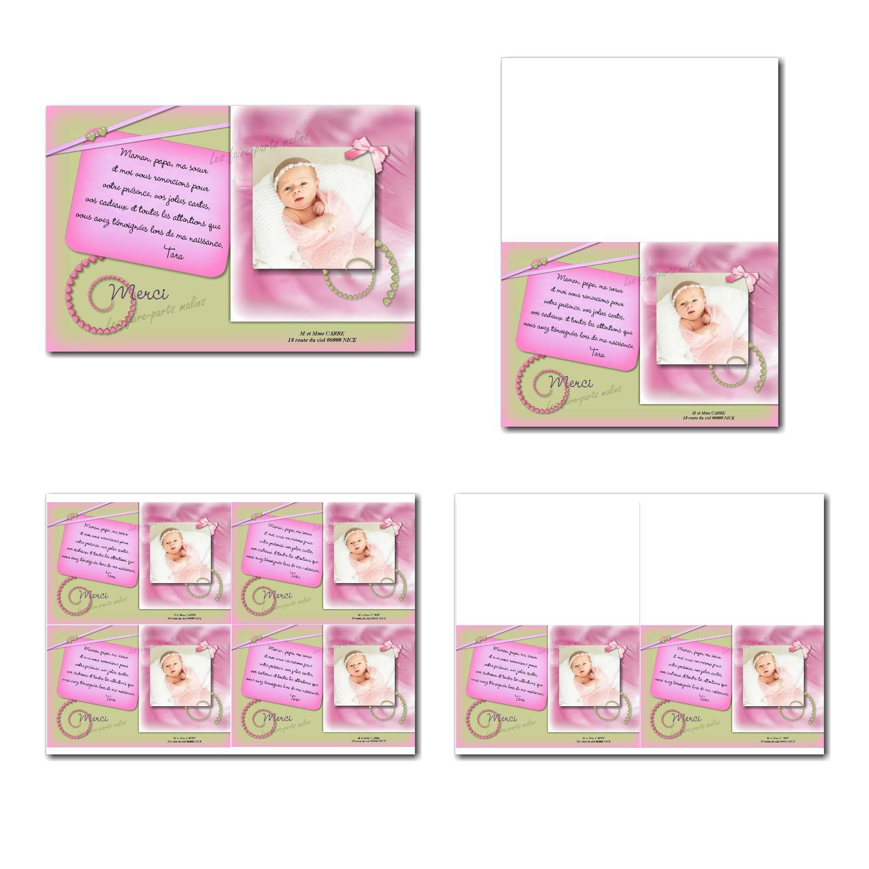 carte de remerciements prêt à imprimer rose et vert avec spirale de coeurs pour fille