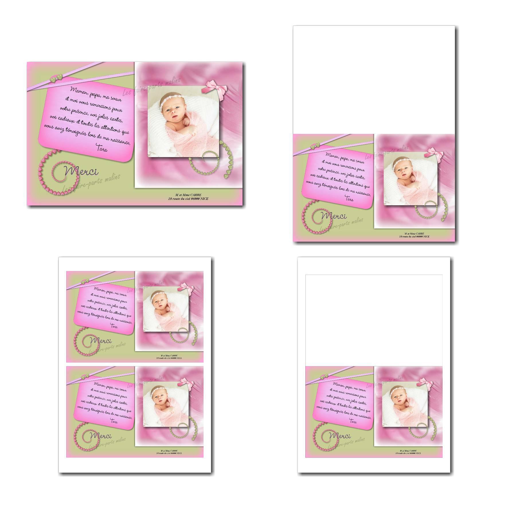 Carte de remerciements à imprimer rose et verte avec petits coeurs