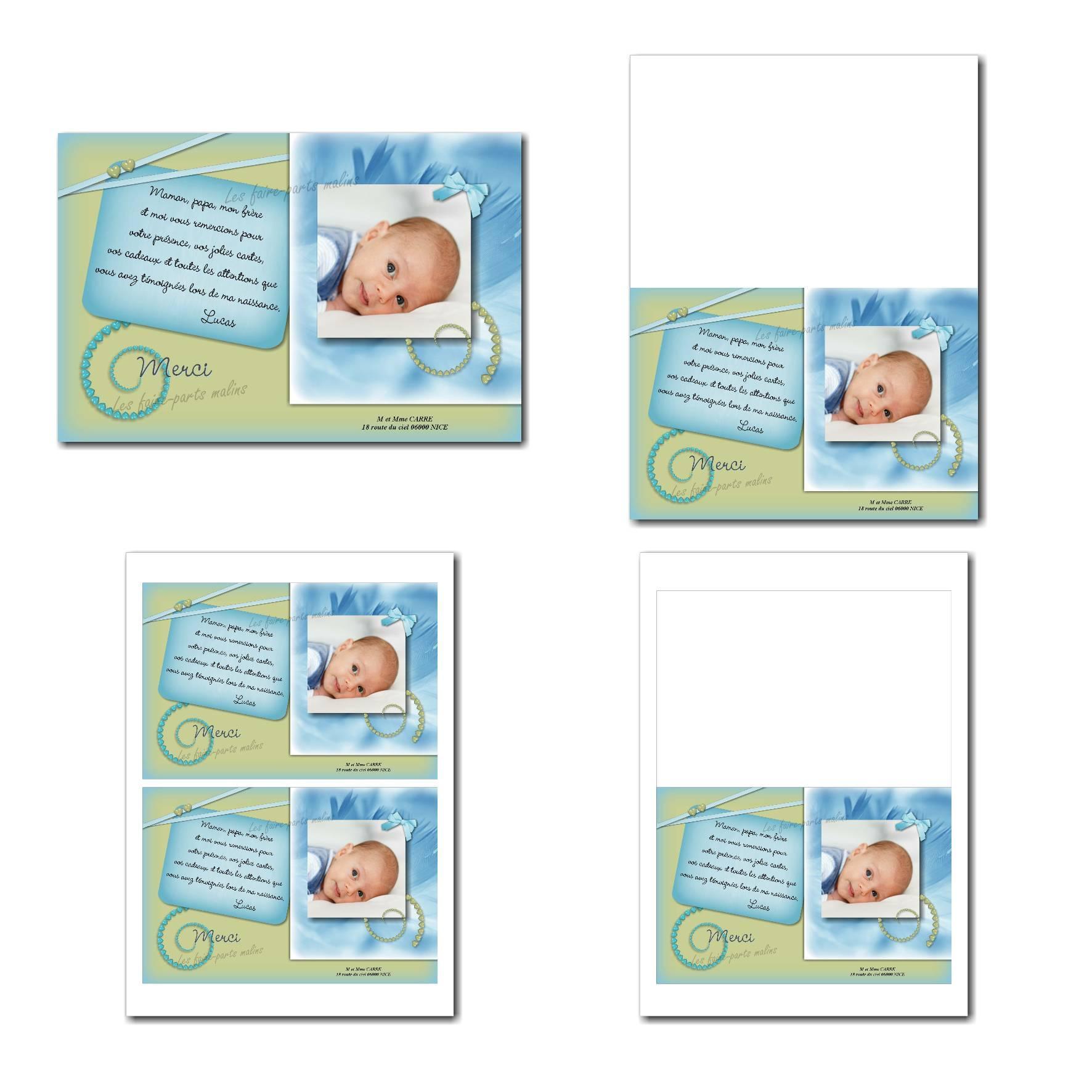 Carte de remerciements à imprimer bleu et vert avec petits coeurs