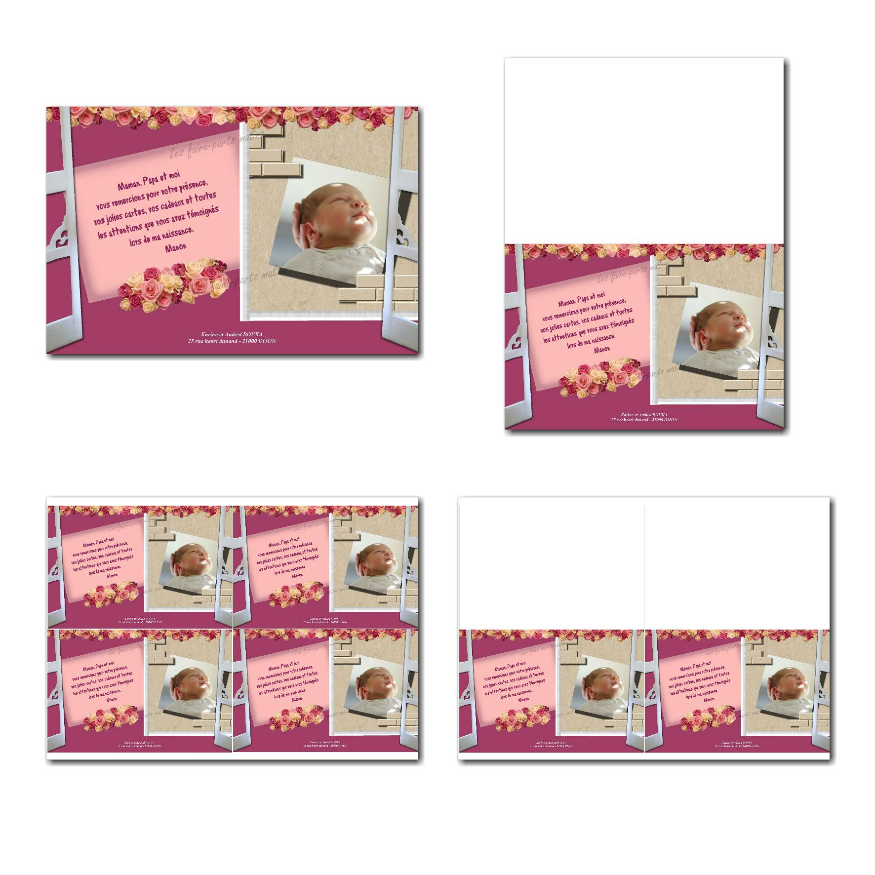 carte de remerciements prêt à imprimer rose et beige fenêtre