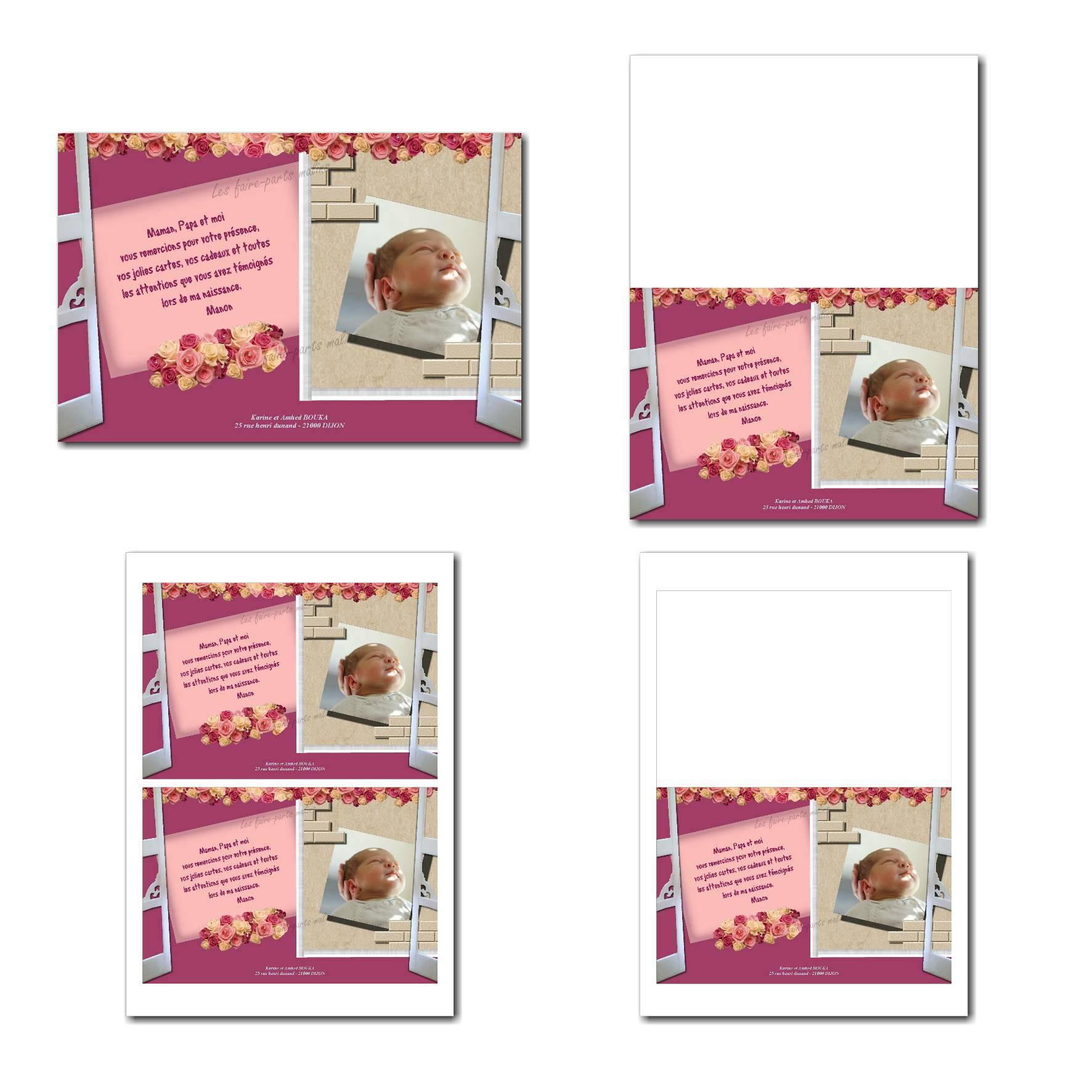 Carte de remerciements à imprimer rose avec fleur beige