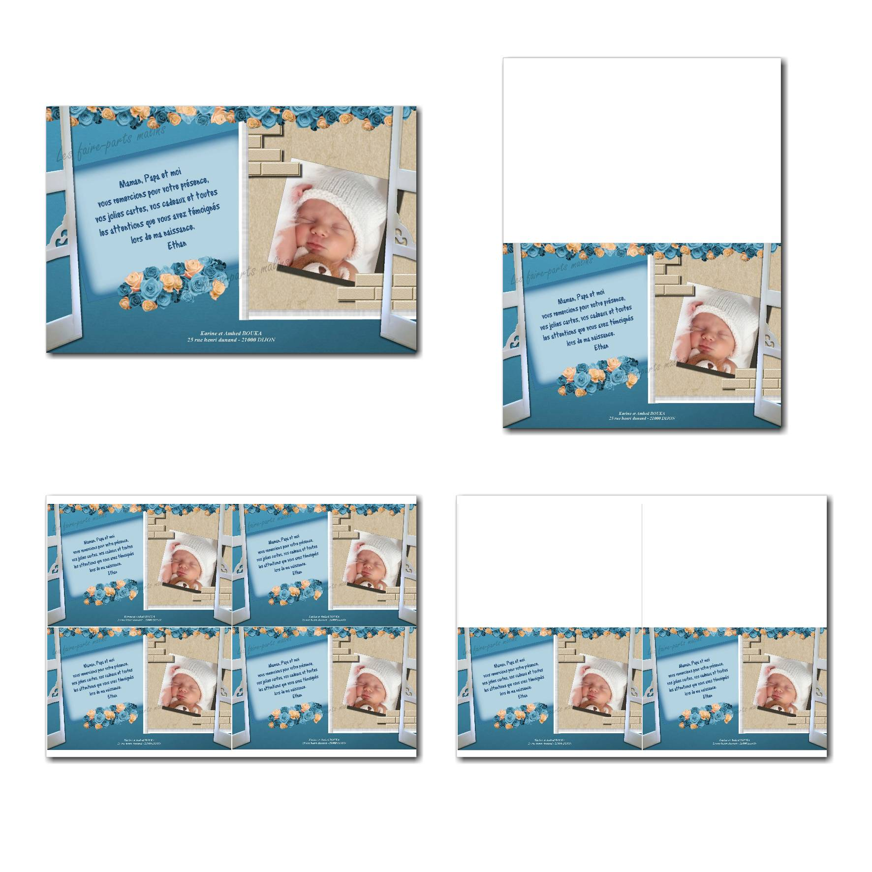 Carte de remerciements prêt à imprimer bleu et beige avec fenêtre ouverte