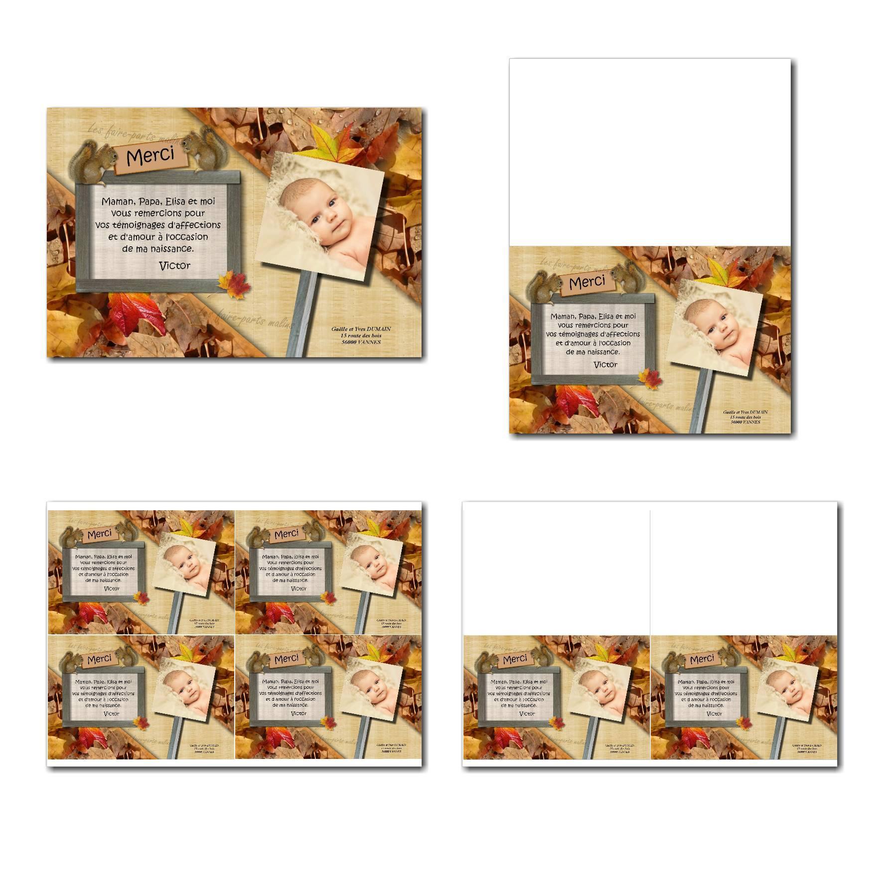 Carte de remerciements à imprimer fond de feuilles d'automne