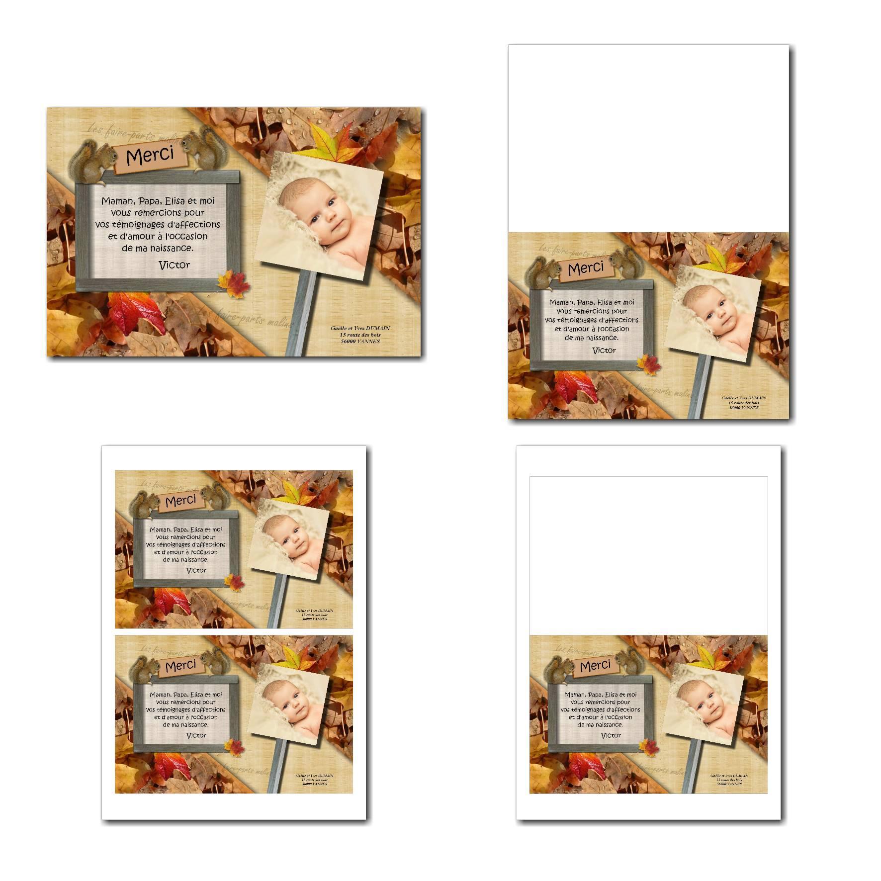 Carte de remerciements illimité orange marron et petits écureuils d'automne