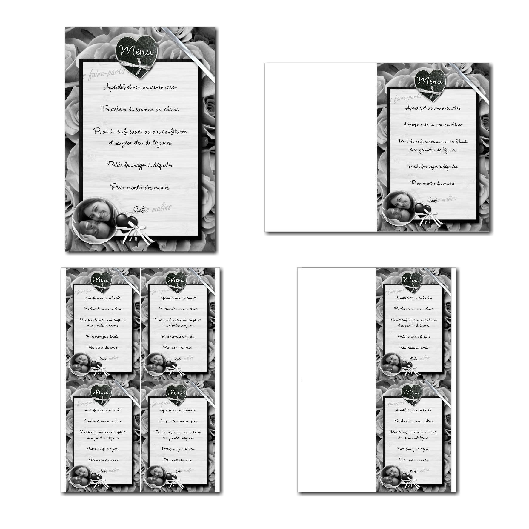 Carte de menu à imprimer sur fond de roses noires et blanches