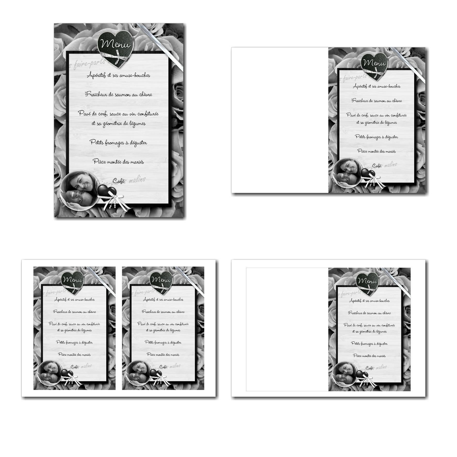 Carte de menu illimité en noir et blanc avec roses