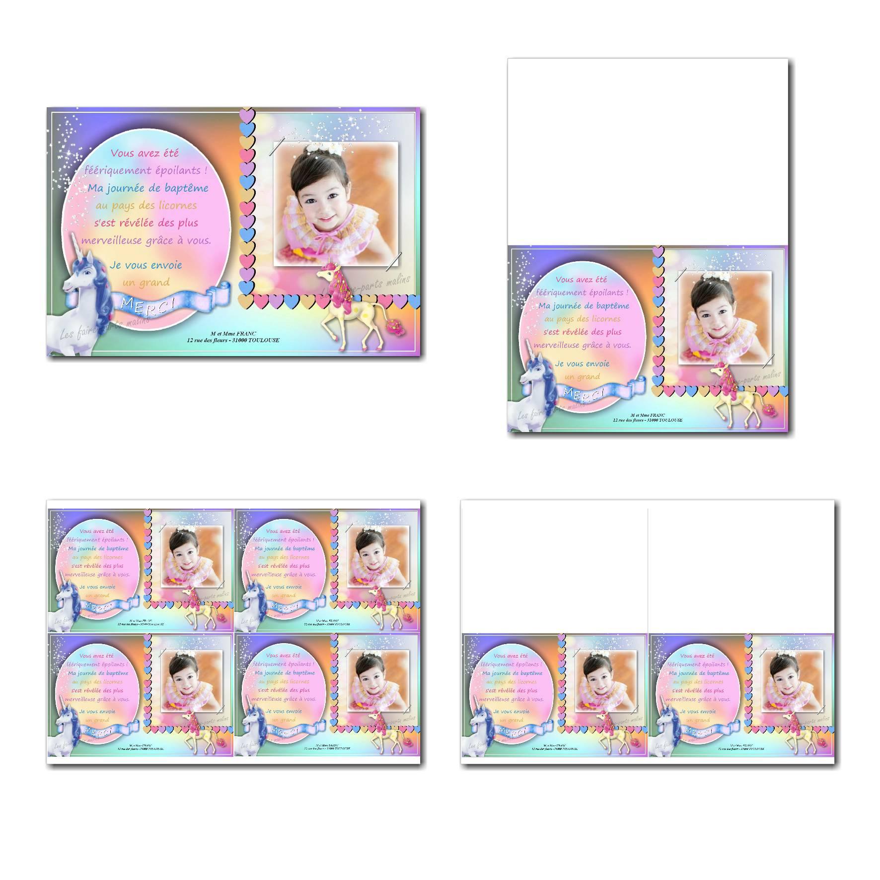 carte de remerciements prêt à imprimer multicolore avec licorne
