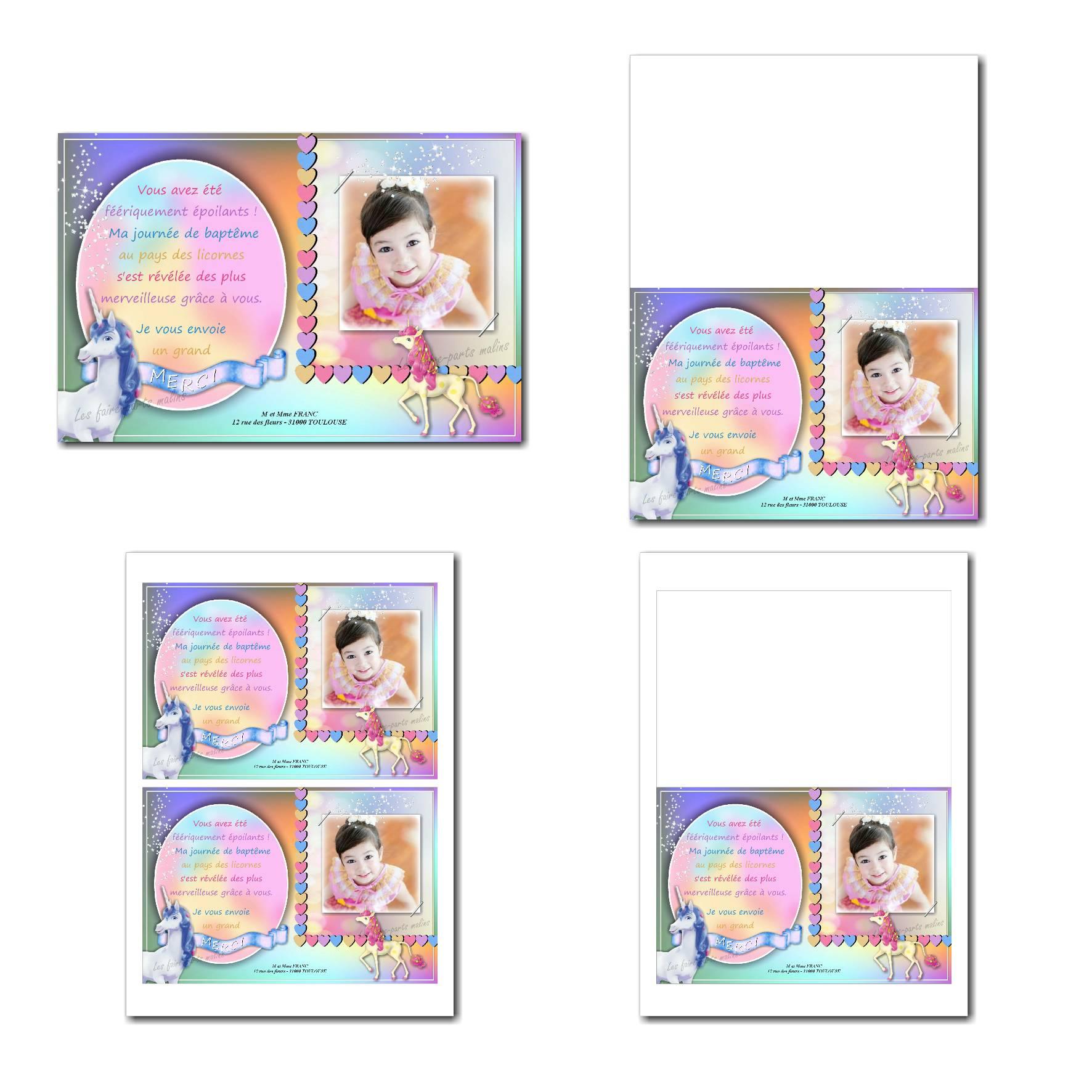 Carte de remerciements à imprimer couleurs pastels avec licorne