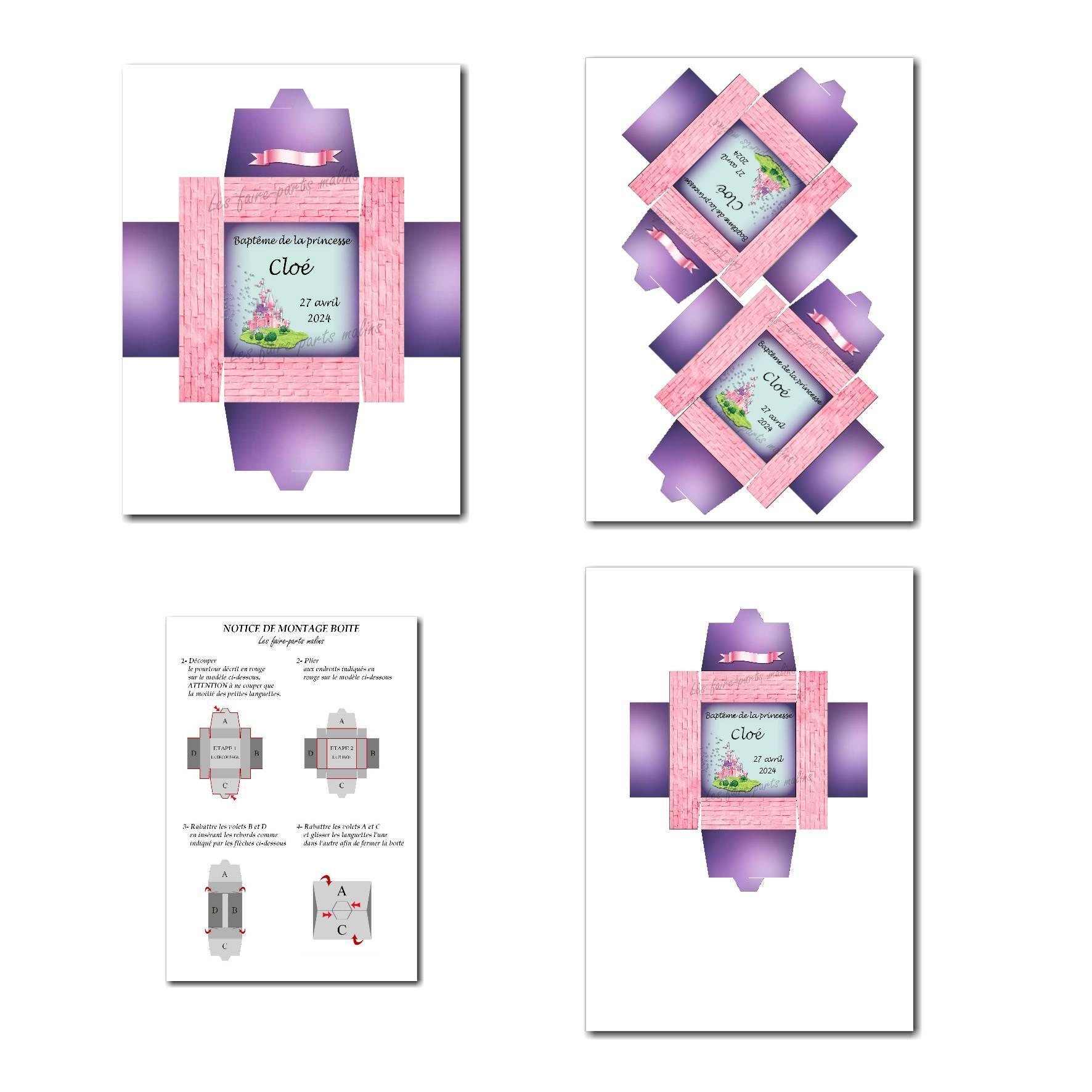 Boite à imprimer château de princesse en violet et rose