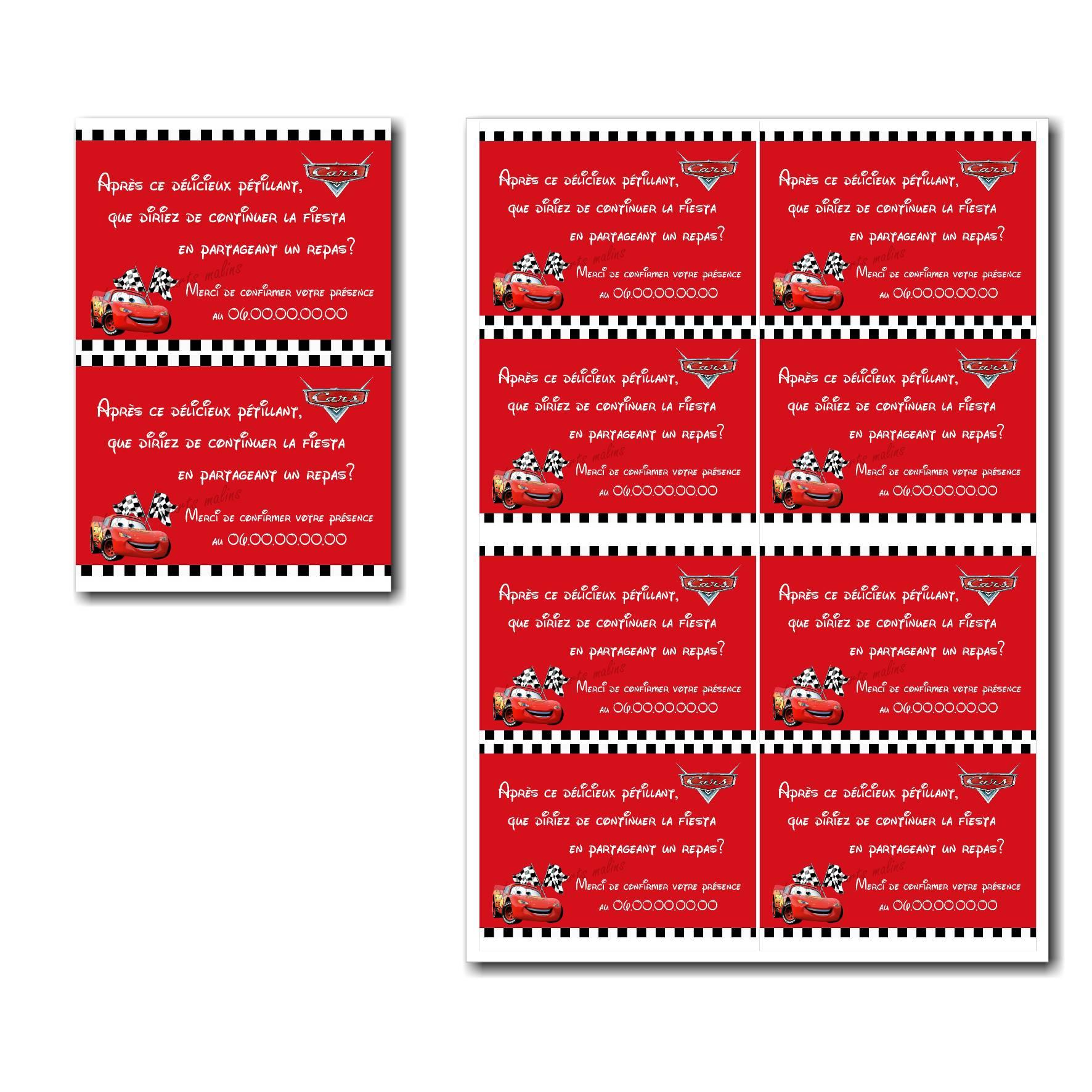 coupon réponse à imprimer rouge avec voiture flash mc queen