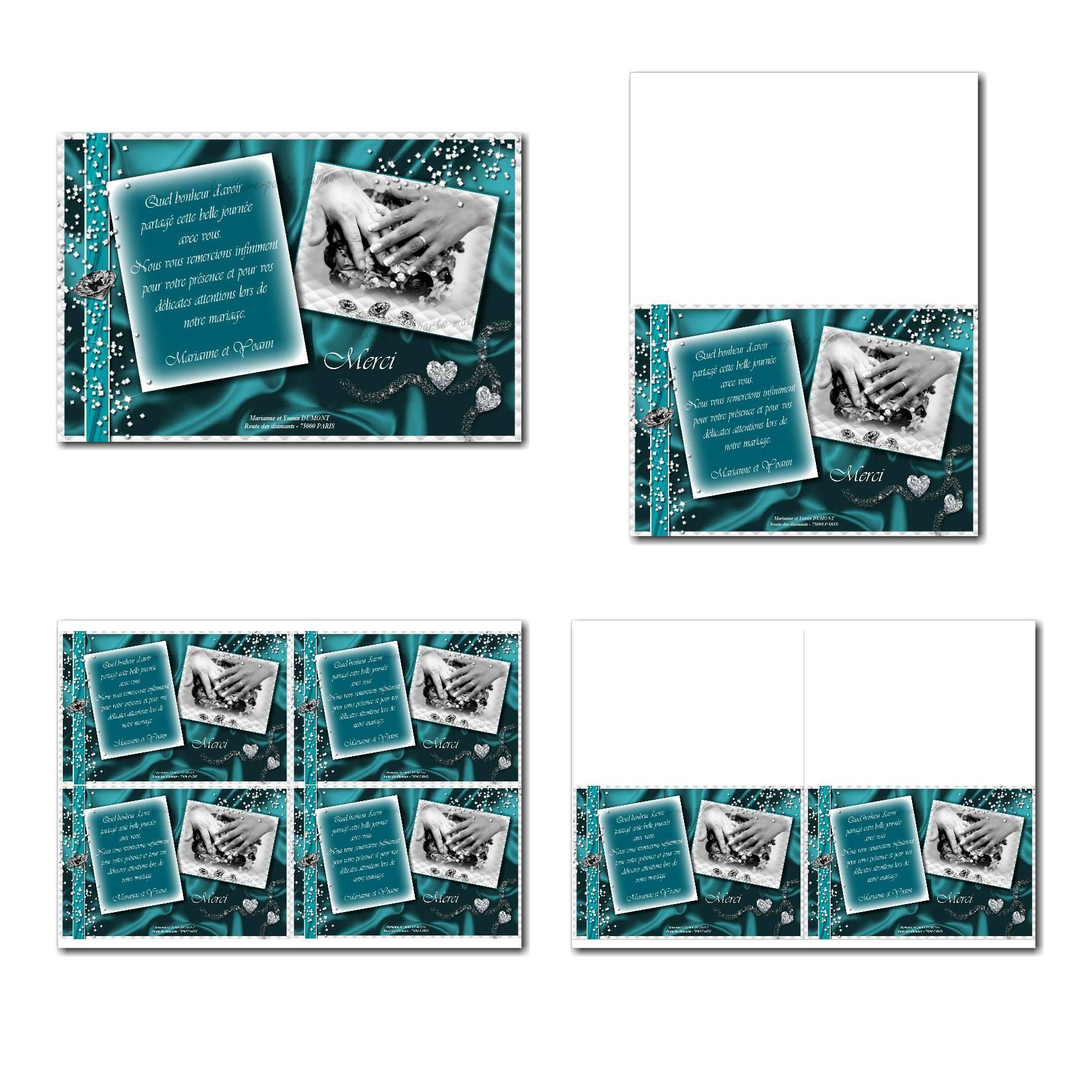 Carte de remerciements à imprimer en bleu et blanc avec diamants
