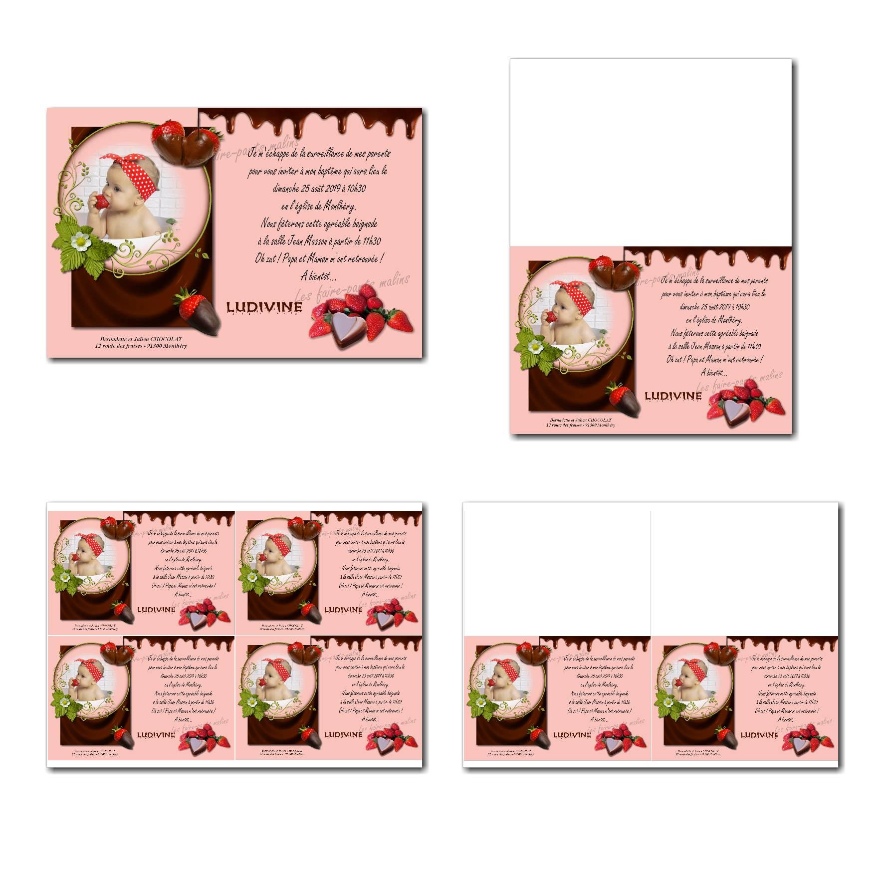 faire-part à imprimer fraise chocolat fondant