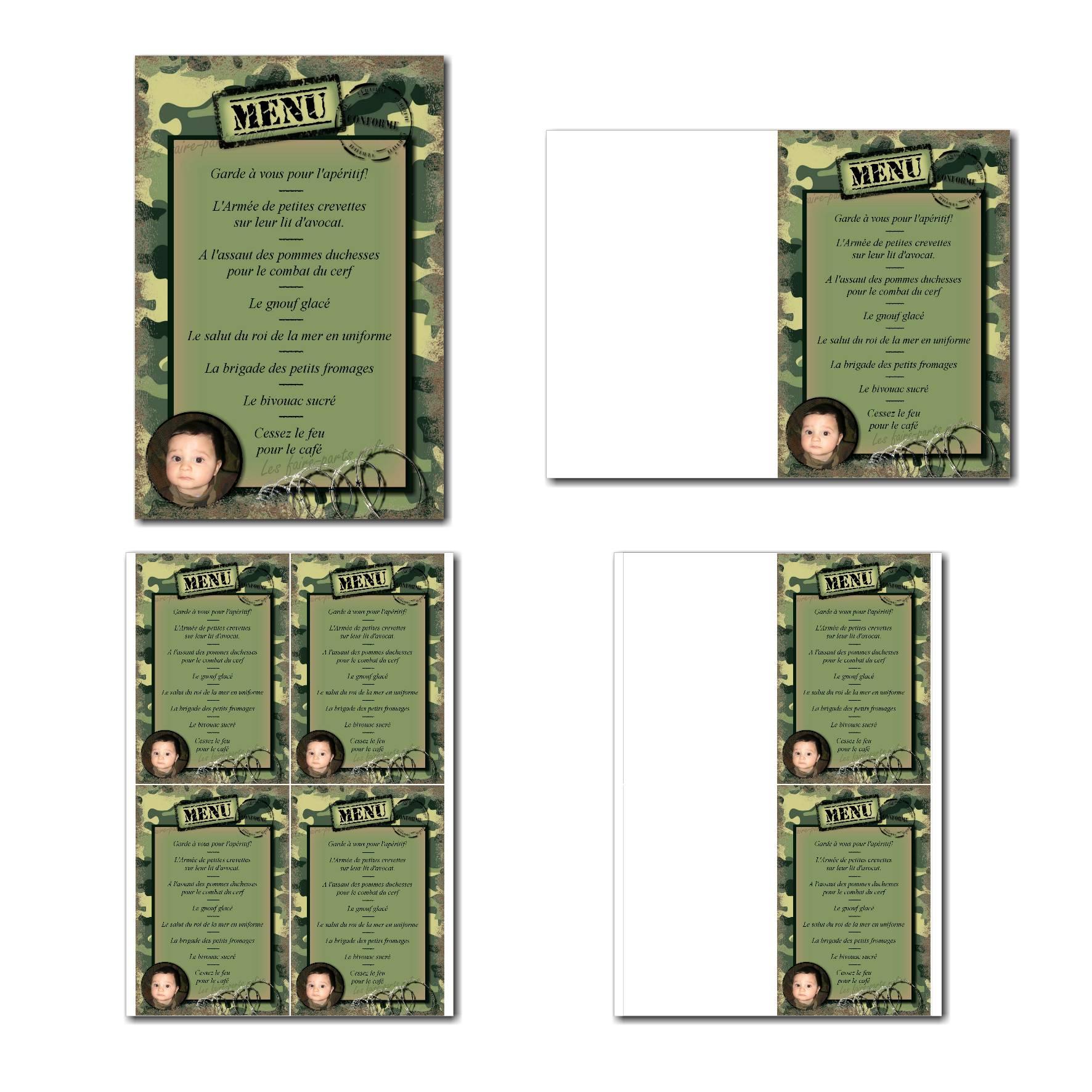 Carte de menu à imprimer fond militaire