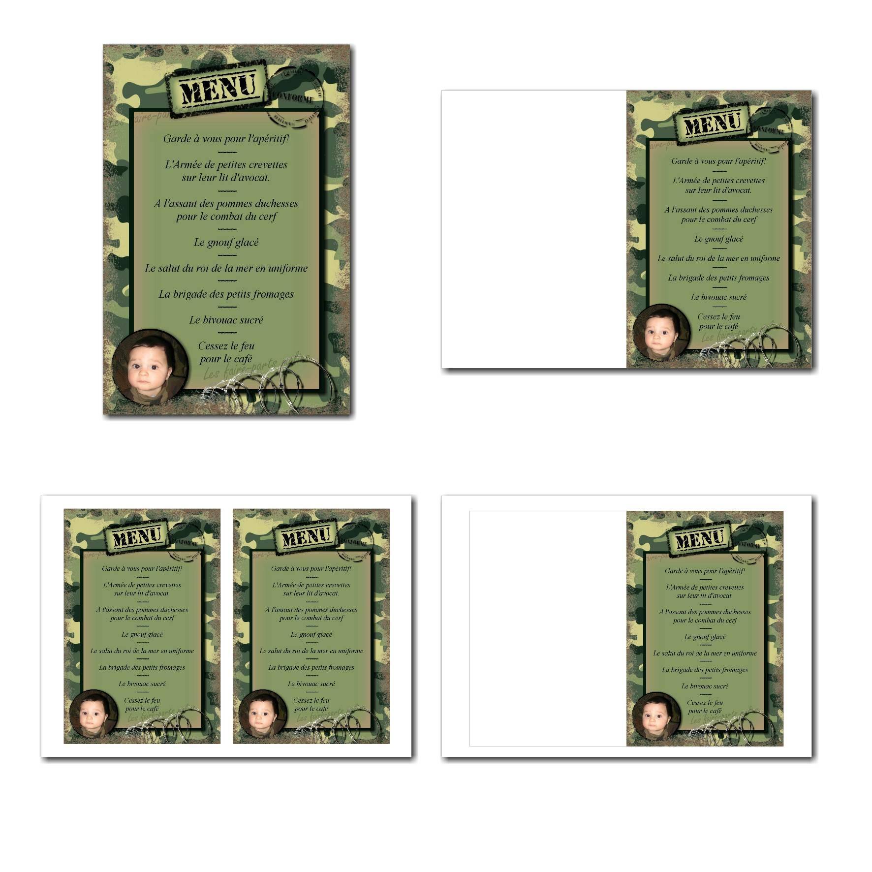 Carte de menu illimité fond camouflé de soldat