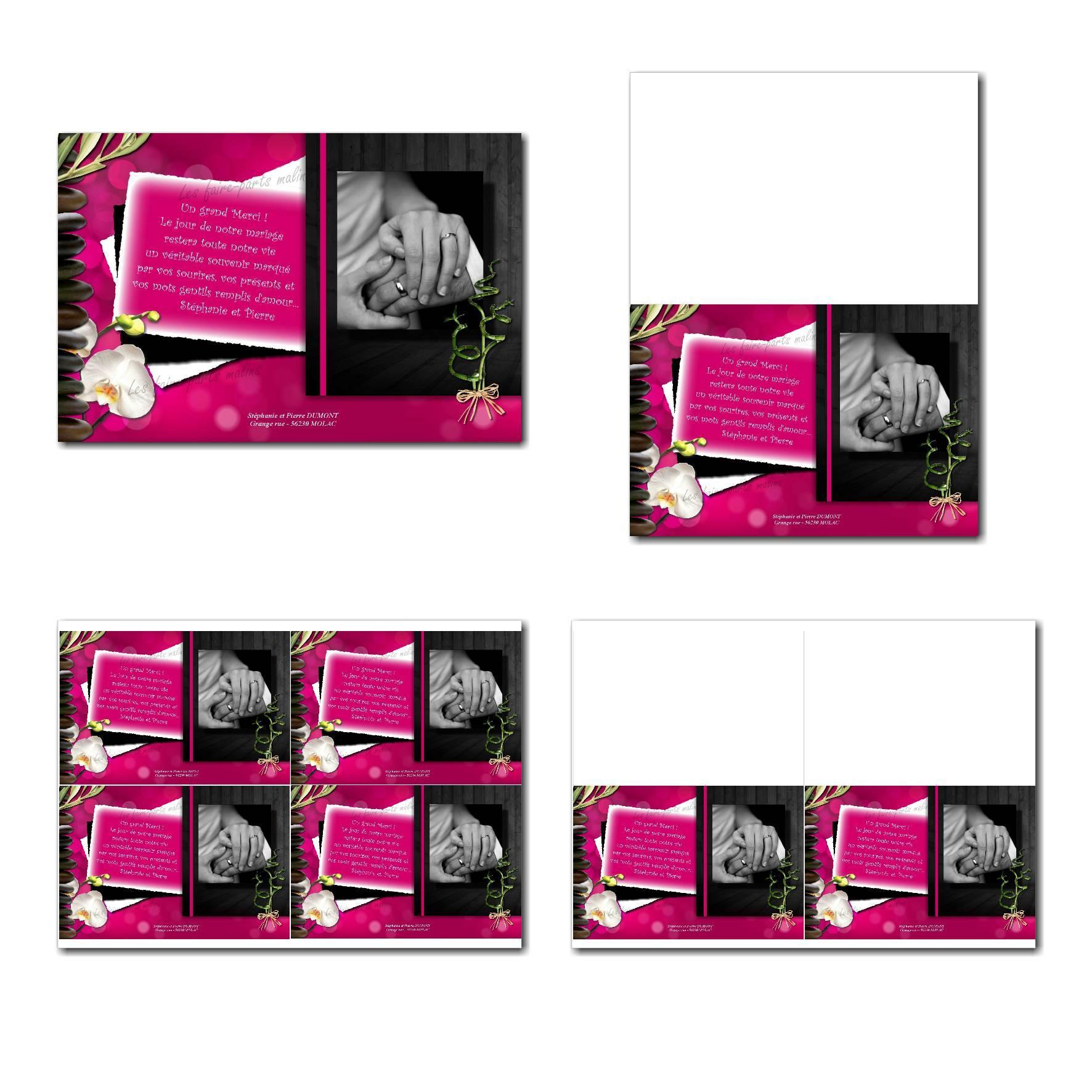 Carte de remerciements à imprimer en fuchsia et noir avec orchidéesiamants