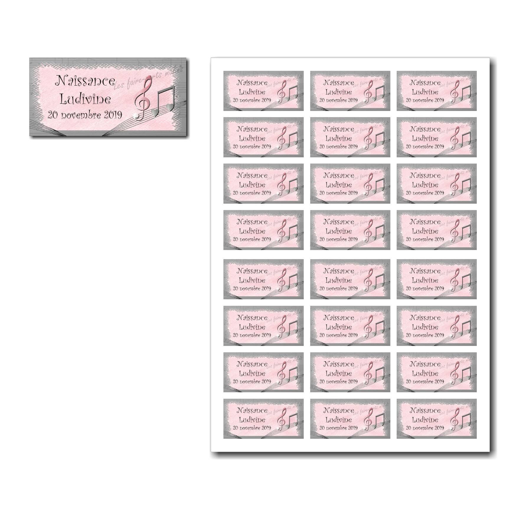 Etiquette dragées à imprimer rose et gris avec note de musique