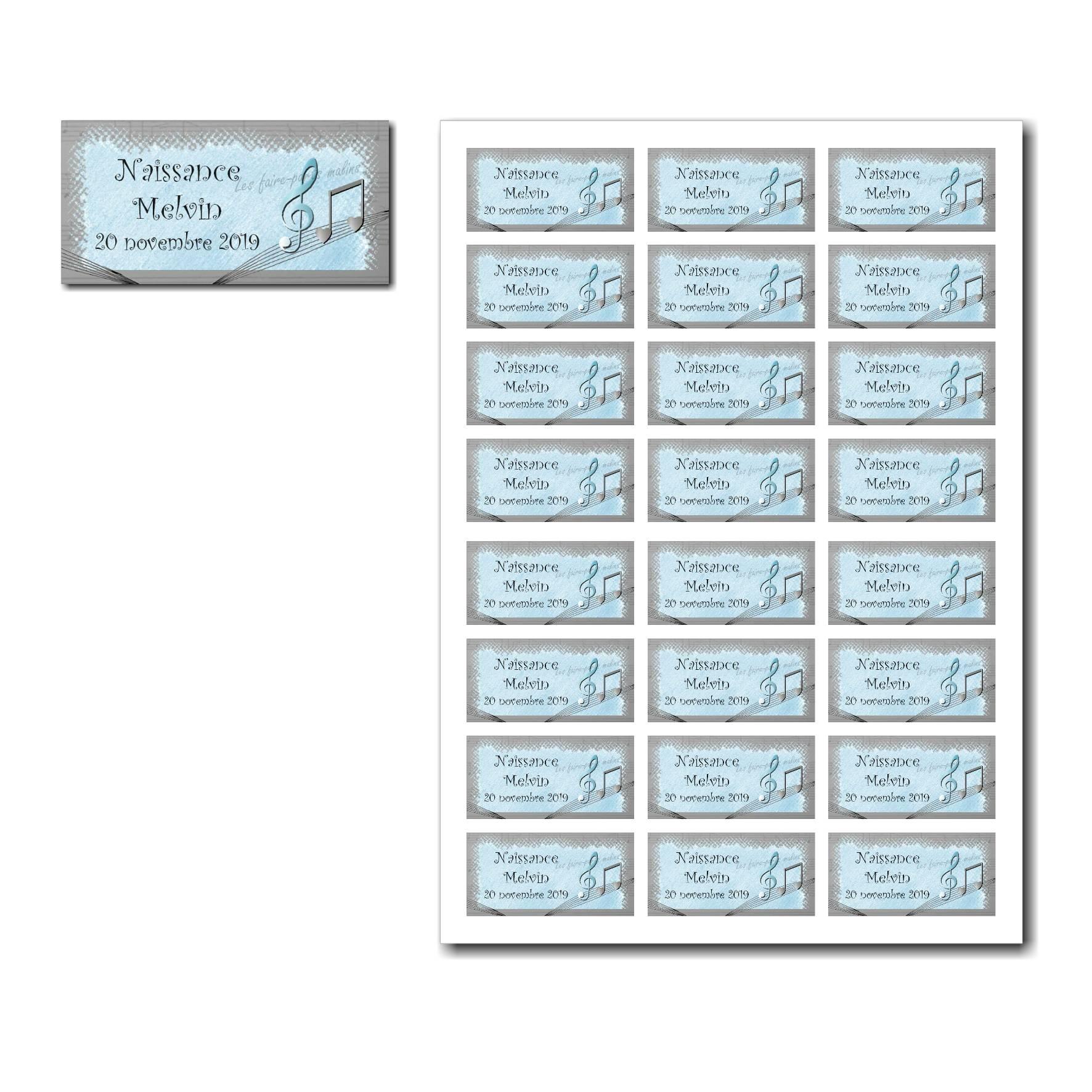 Etiquette dragées à imprimer bleu et gris avec musique