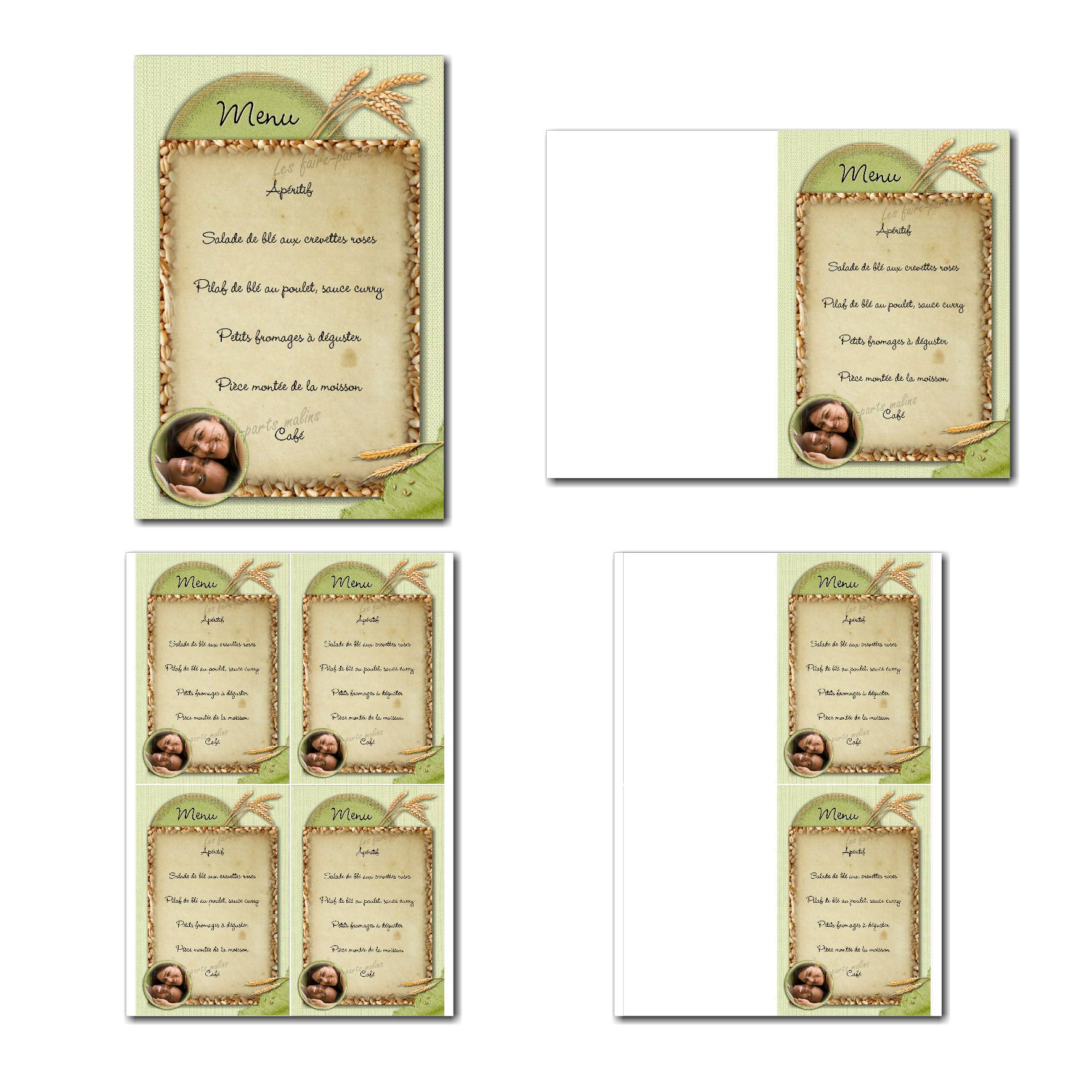 Carte de menu à imprimer sur fond vert avec épis de blé
