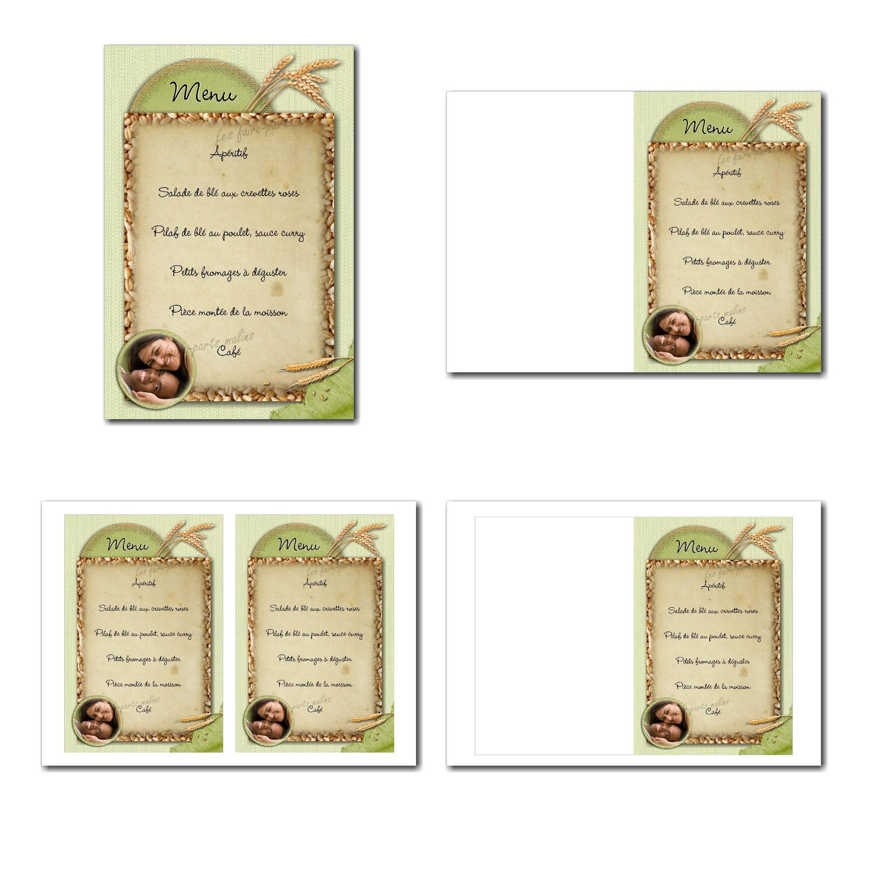 Carte de menu illimité grain de blé froment