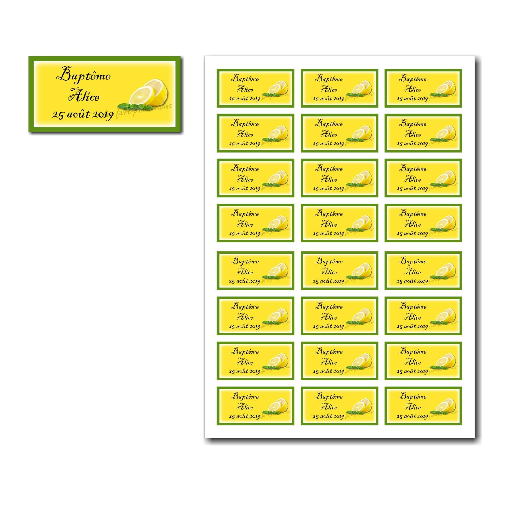 Etiquette dragées à imprimer jaune citron