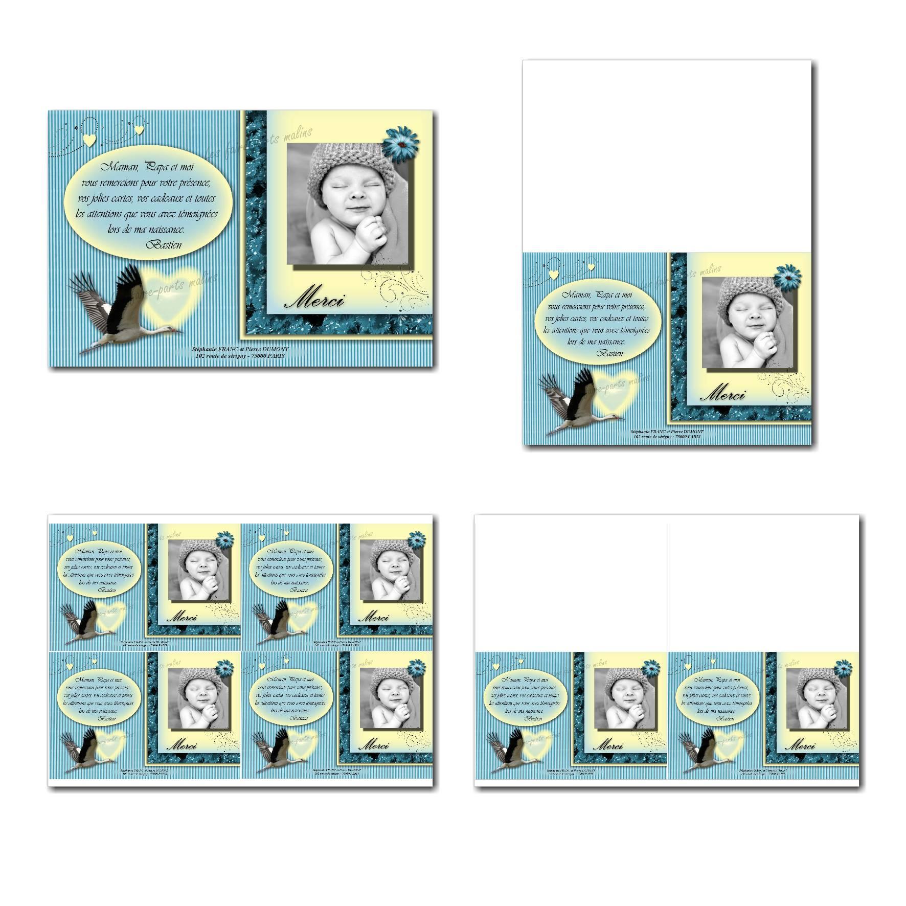 carte de remerciements prêt à imprimer bleu et jaune cigogne