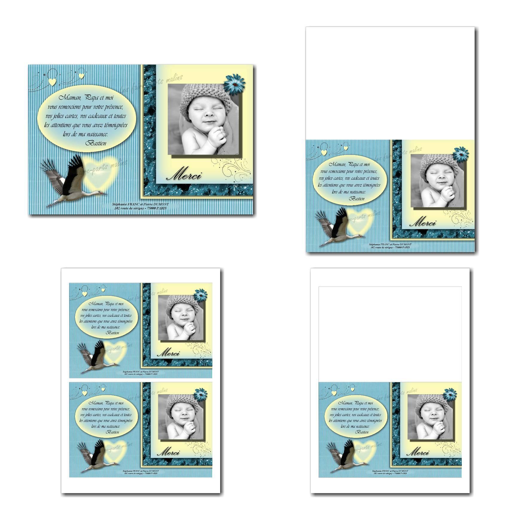 Carte de remerciements à imprimer bleu clair et jaune avec cigogne