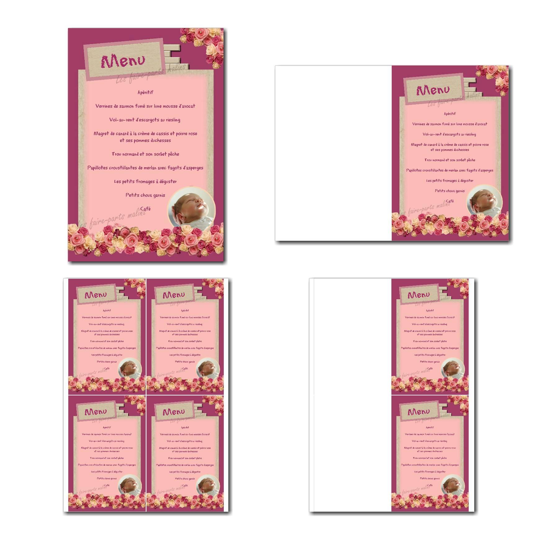carte de menu prêt à imprimer rose foncé et clair avec fleurs roses