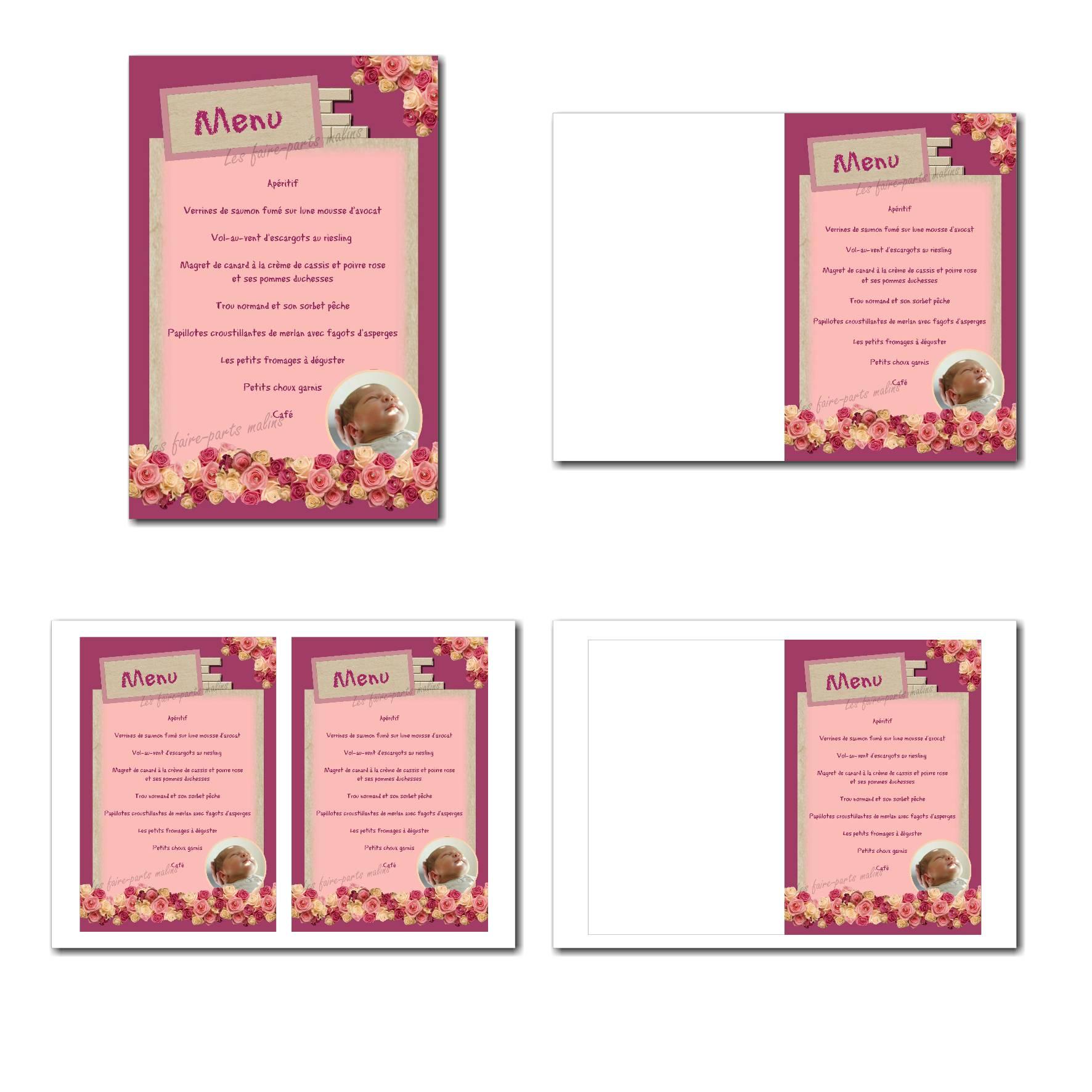 carte de menu illimité en rose et beige avec bord en fleur