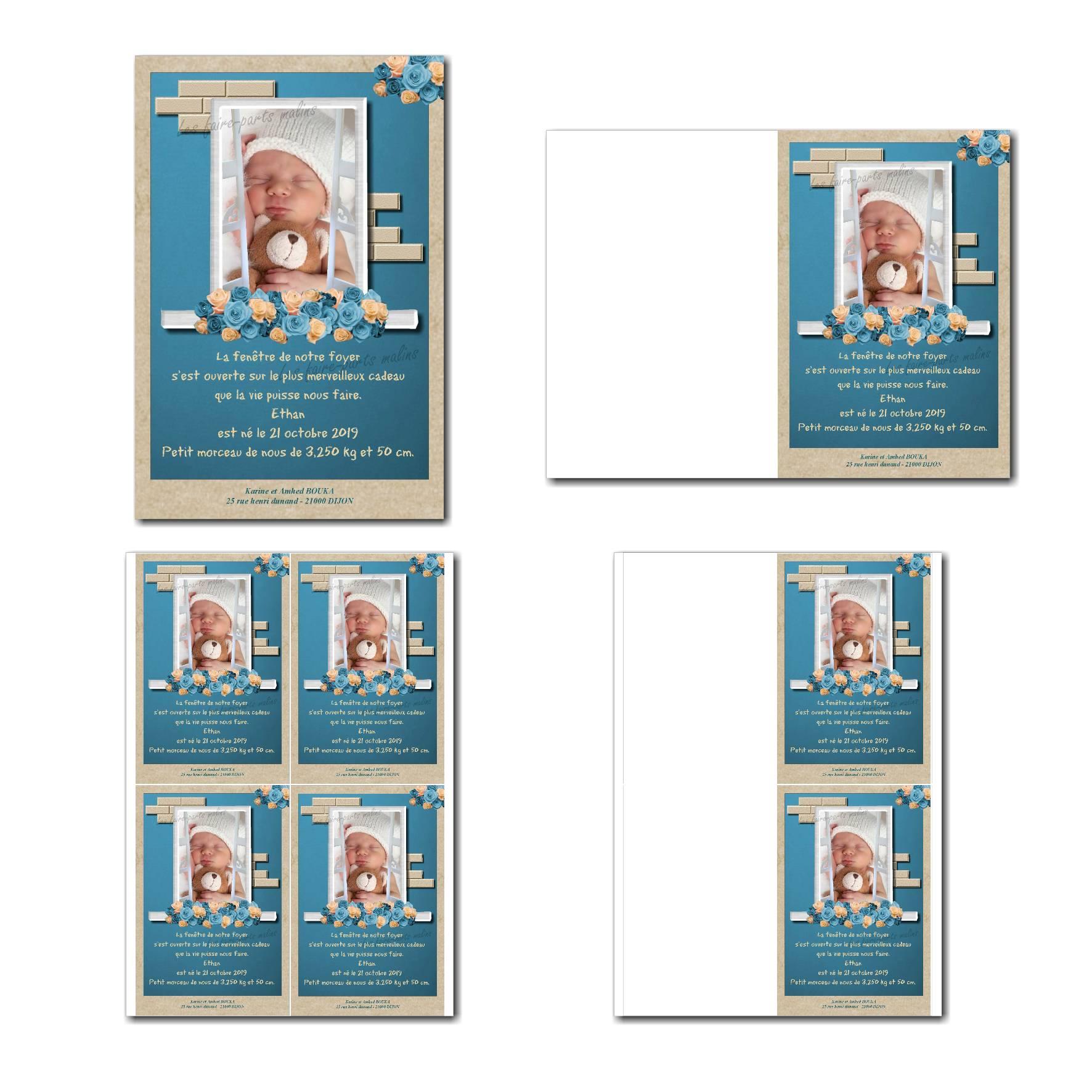 faire-part à imprimer photo enfant derrière fenêtre avec fond bleu